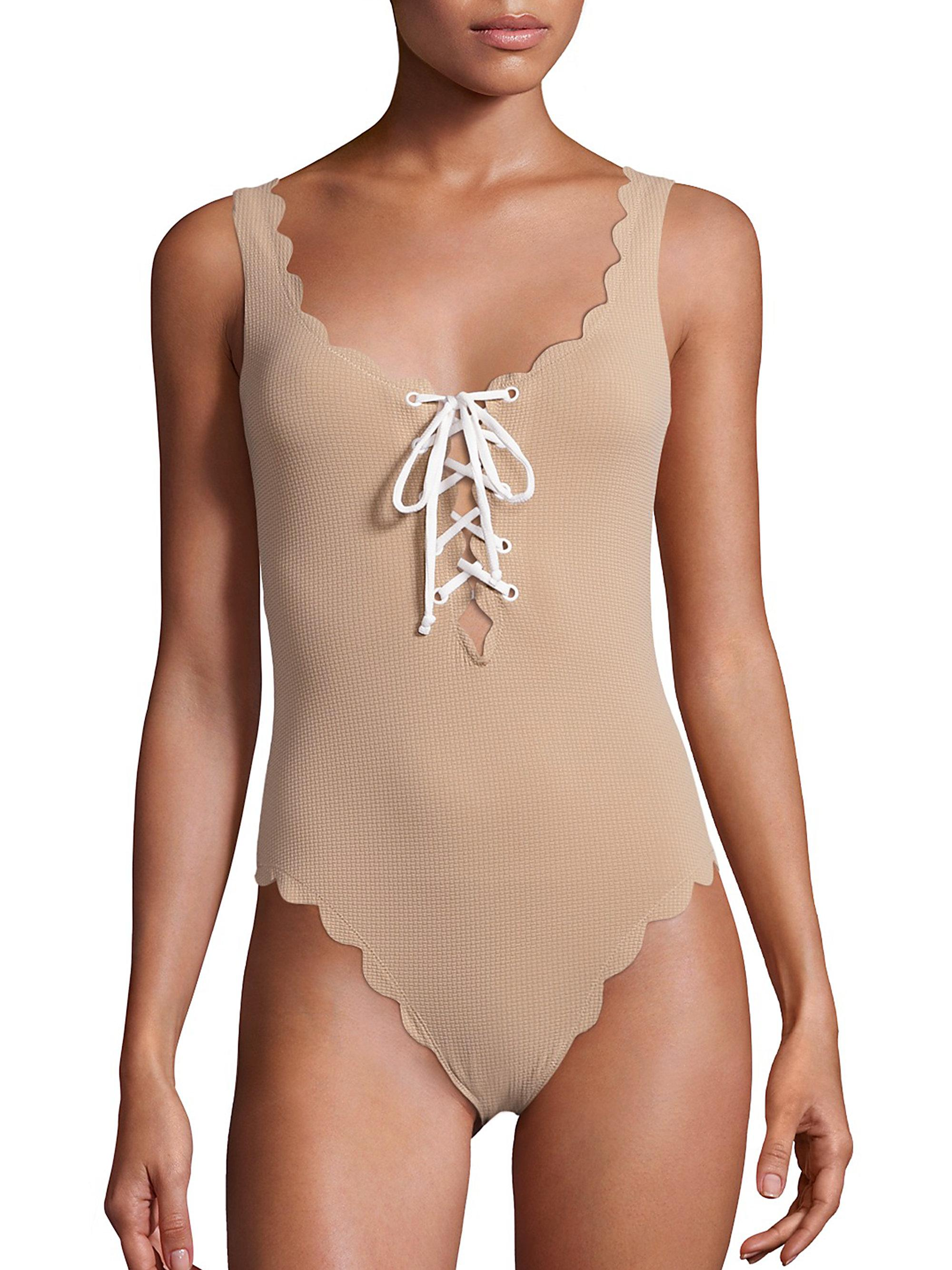 0e7589026370a Marysia Swim Palm Springs One-piece Textured Lace-up Maillot in ...
