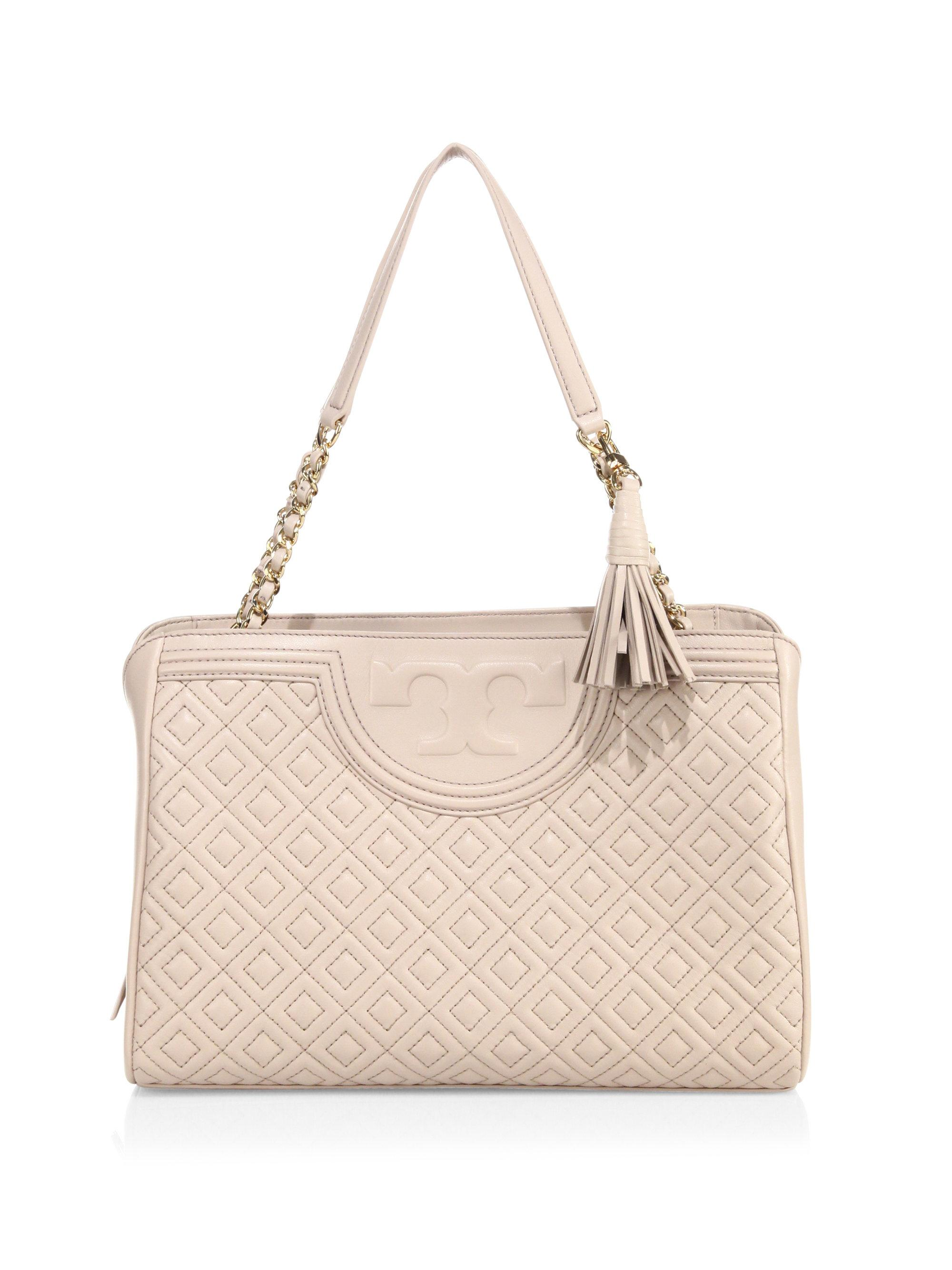 Tory Burch Fleming Quilted Leather Open Shoulder Bag Lyst