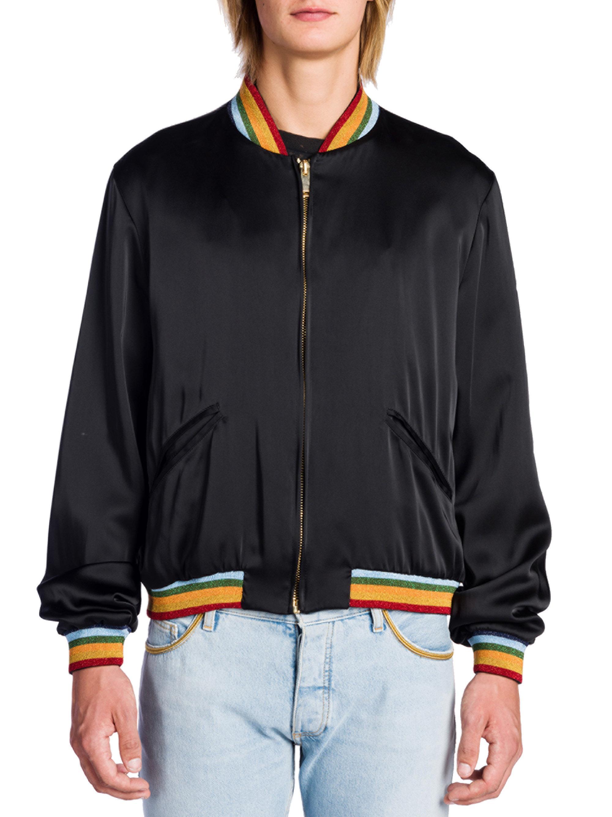 df174bd8d Palm Angels Black Rainbow Bomber Jacket for men