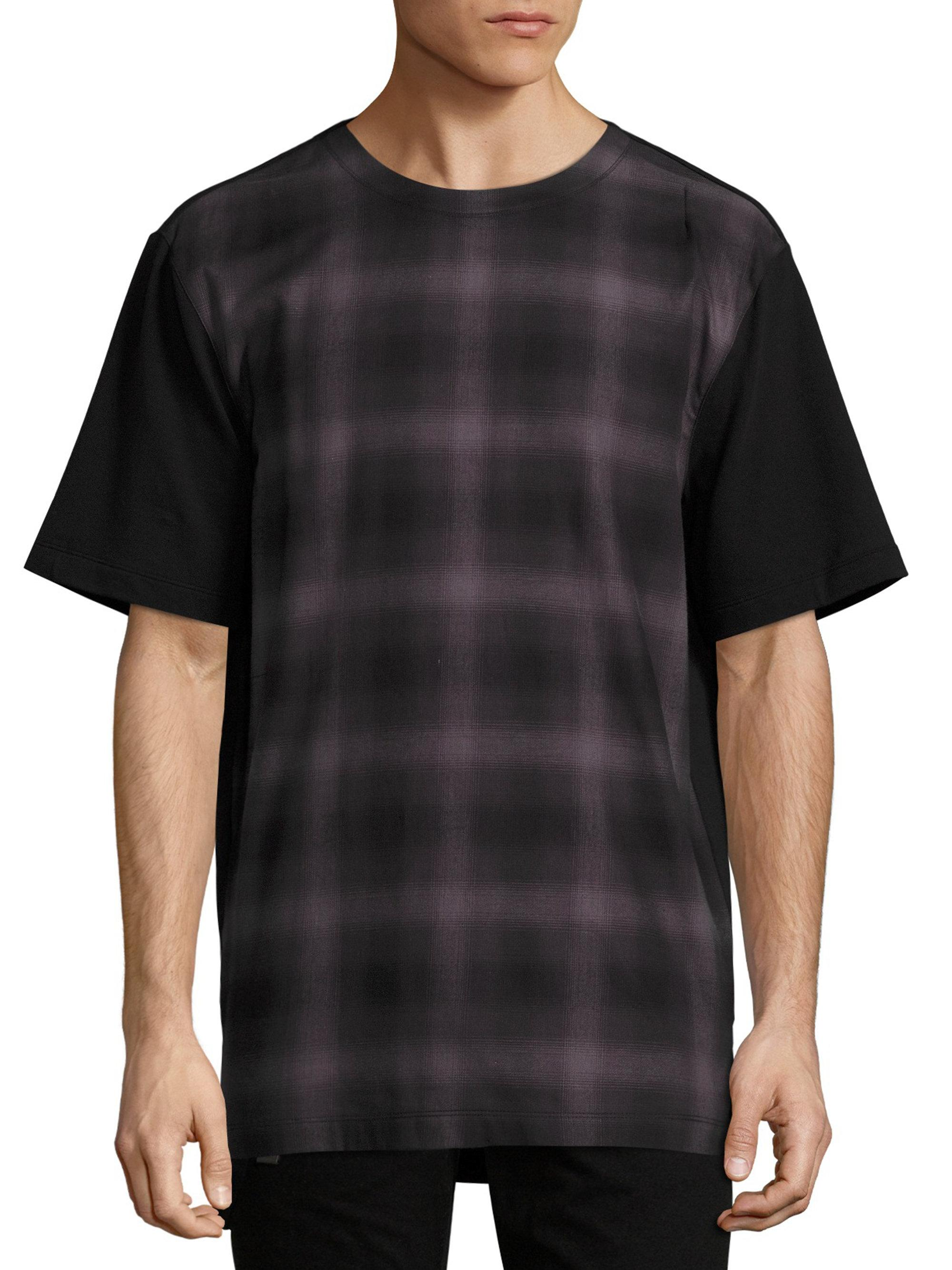 Helmut lang plaid front t shirt in black for men lyst for Helmut lang t shirt