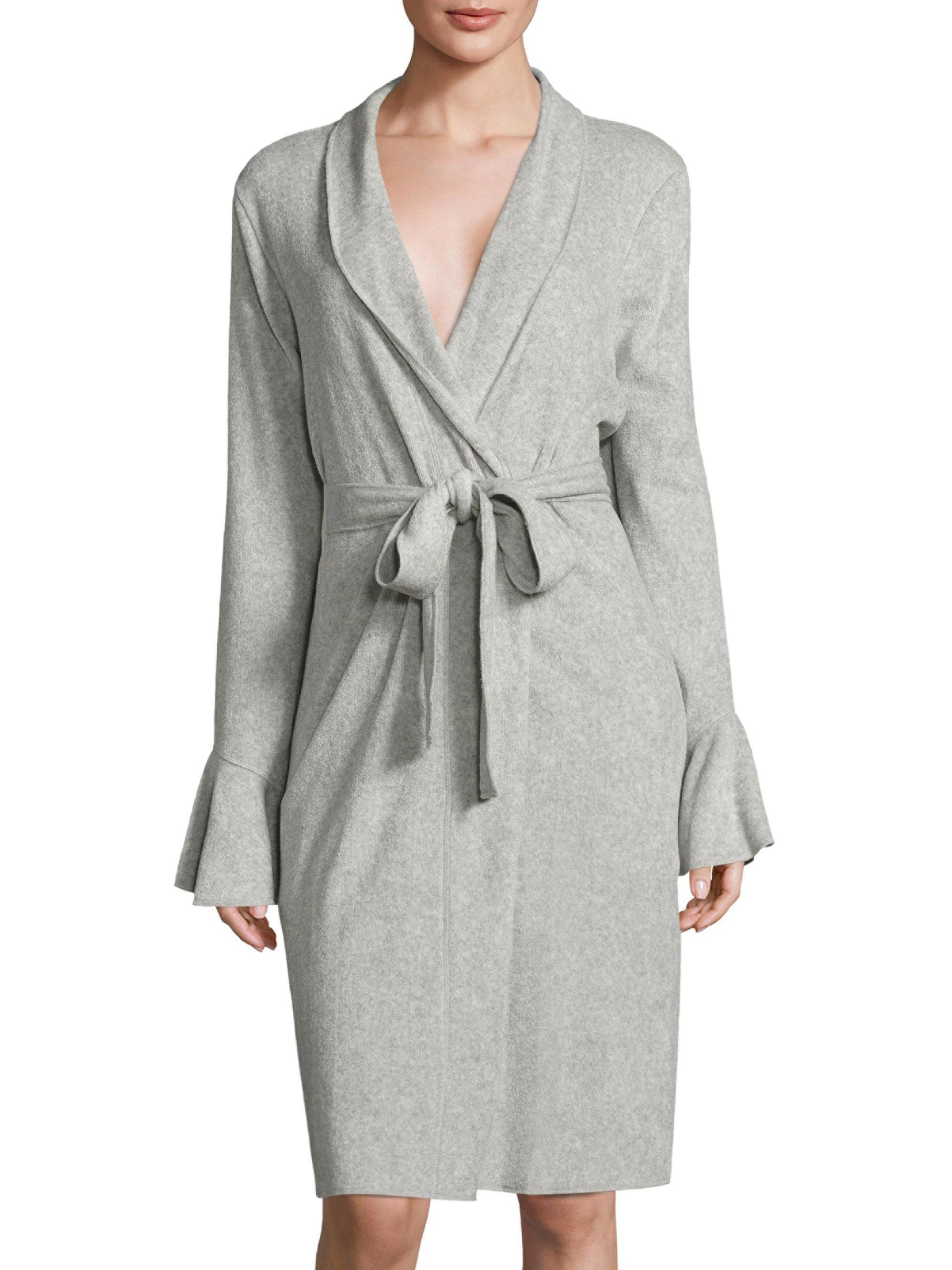 Saks fifth avenue double baby terry robe in gray lyst for Saks 5th avenue robes de mariage