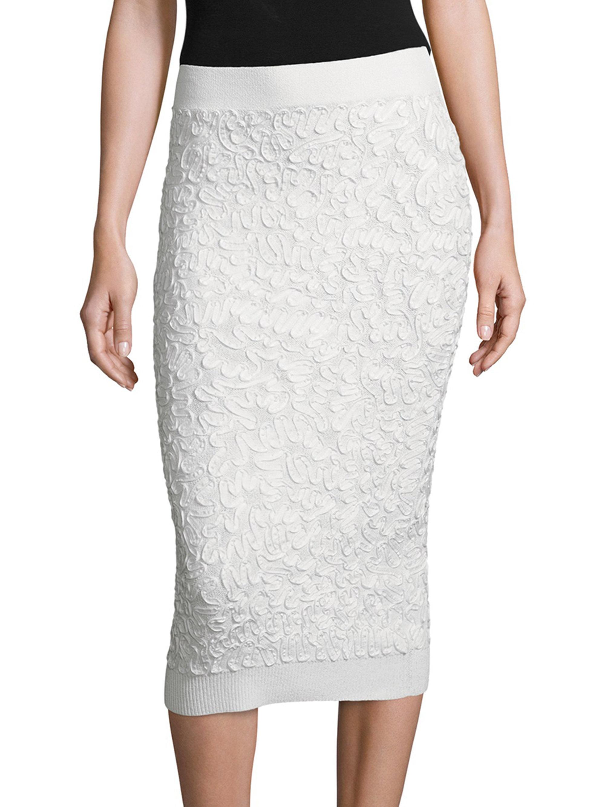 michael kors stretch pencil skirt in white lyst