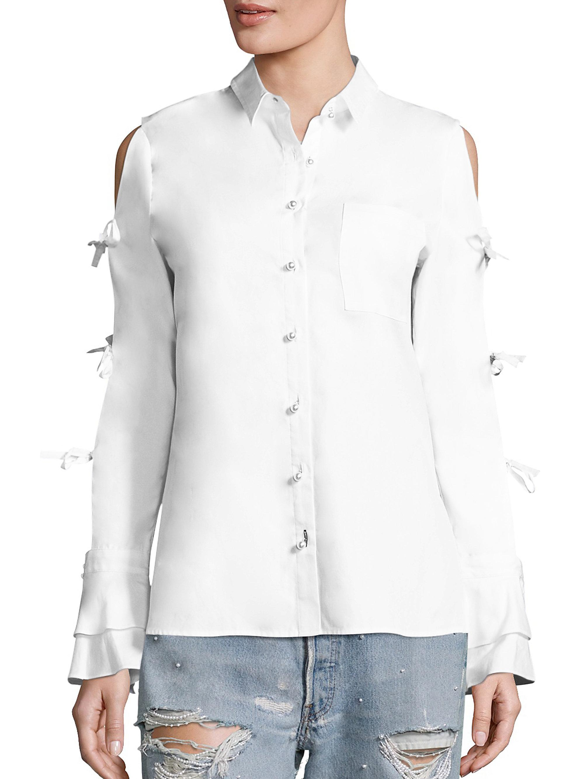 Jonathan simkhai tie sleeve cotton oxford cold shoulder for Oxford shirt with tie