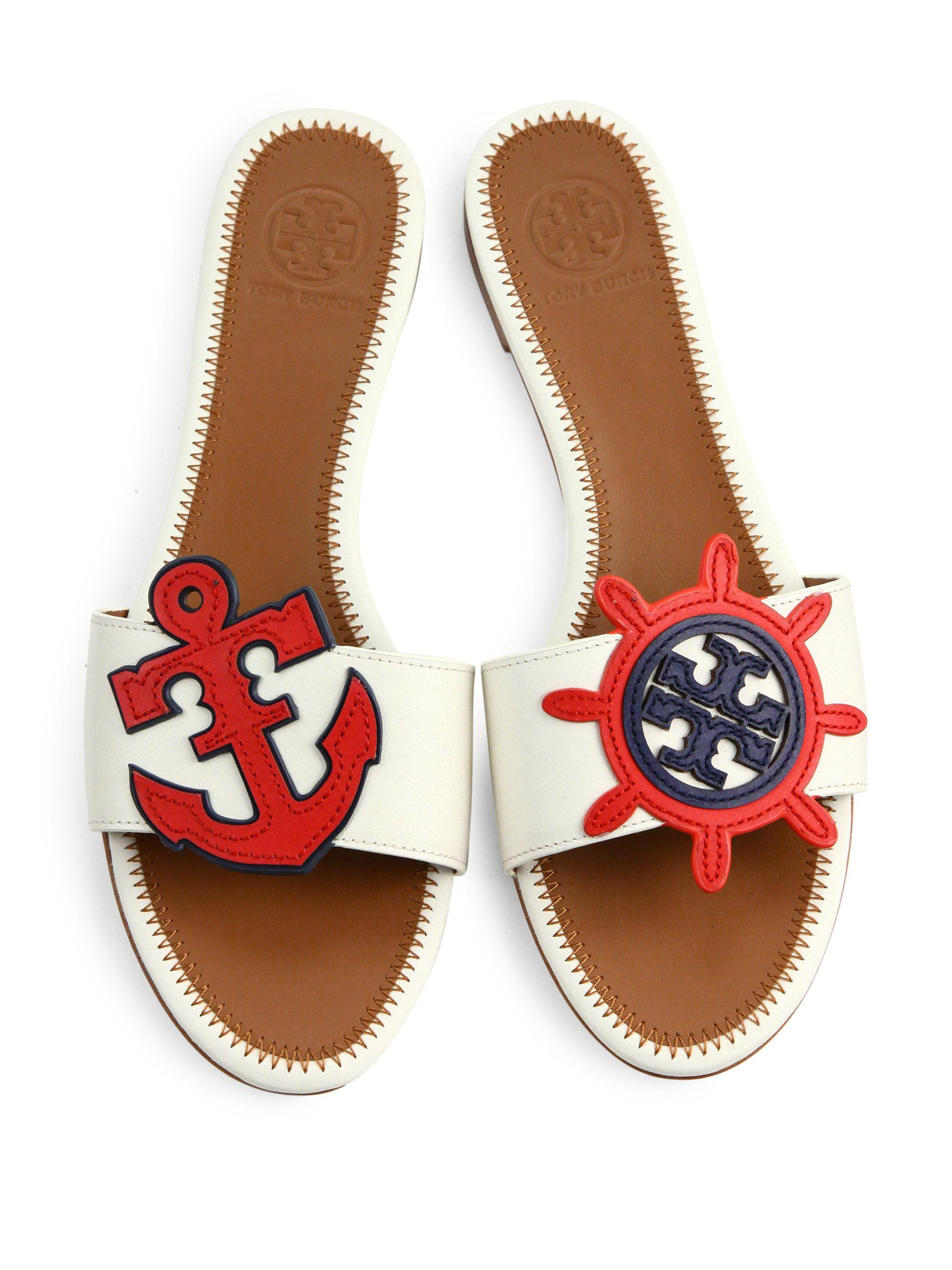 9a0334b5bef Lyst - Tory Burch Maritime Leather Slides in White