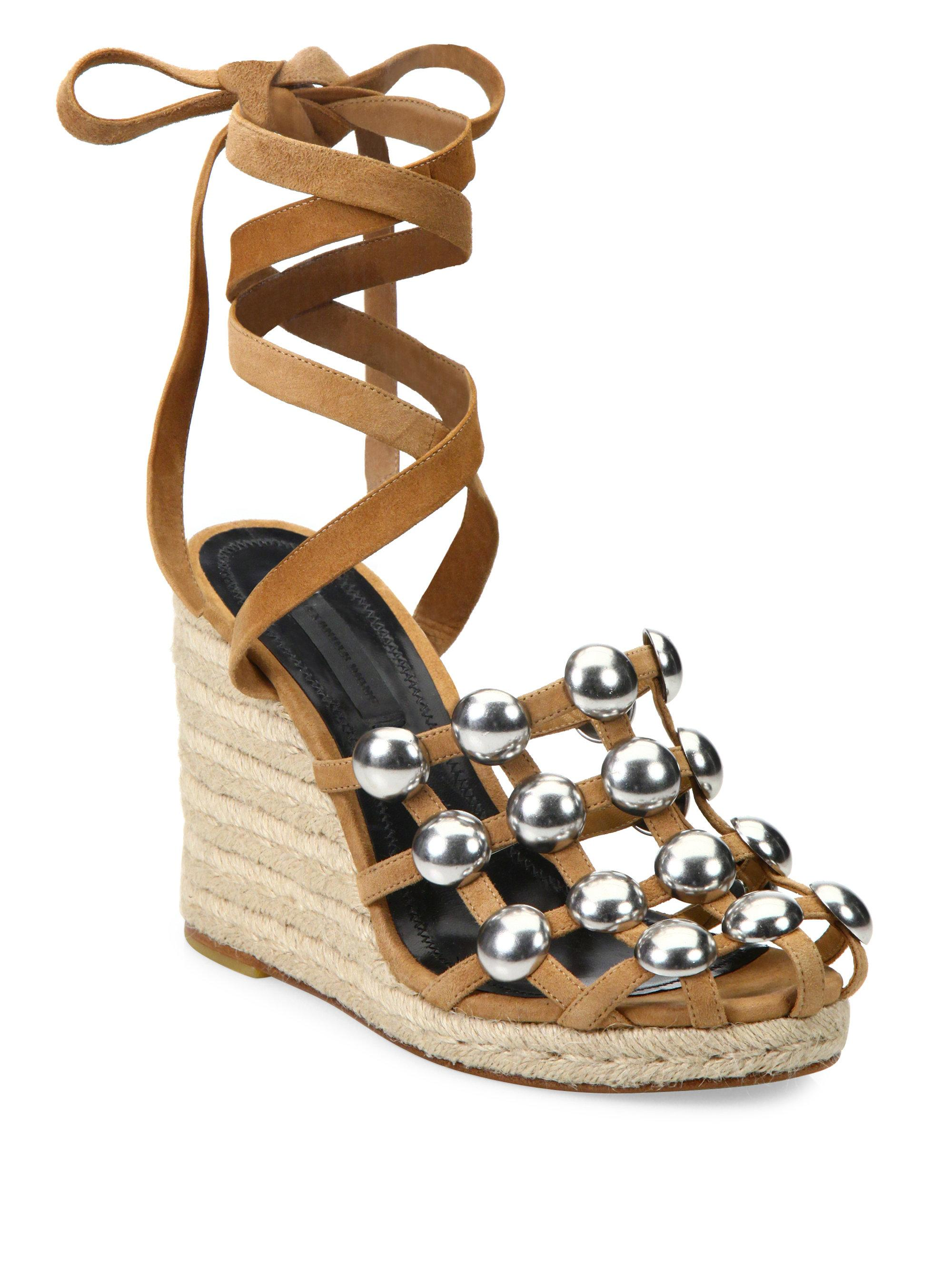 f75f500ef394 Alexander Wang Taylor Studded Suede Lace-up Espadrille Wedge Sandals ...