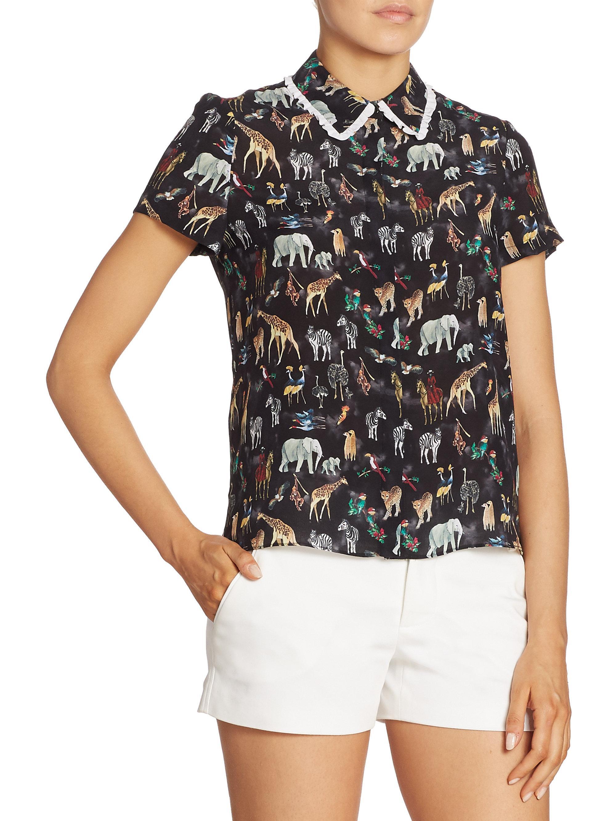 32ded3731e0d8 Lyst - Alice + Olivia  willa  Ruffle Collar Animal Print Silk Top in ...