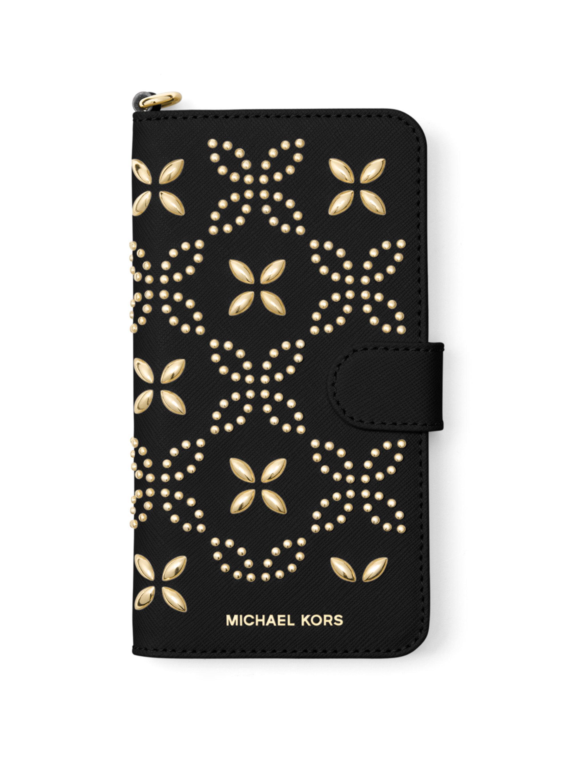 michael michael kors folio leather iphone 7 case in black. Black Bedroom Furniture Sets. Home Design Ideas