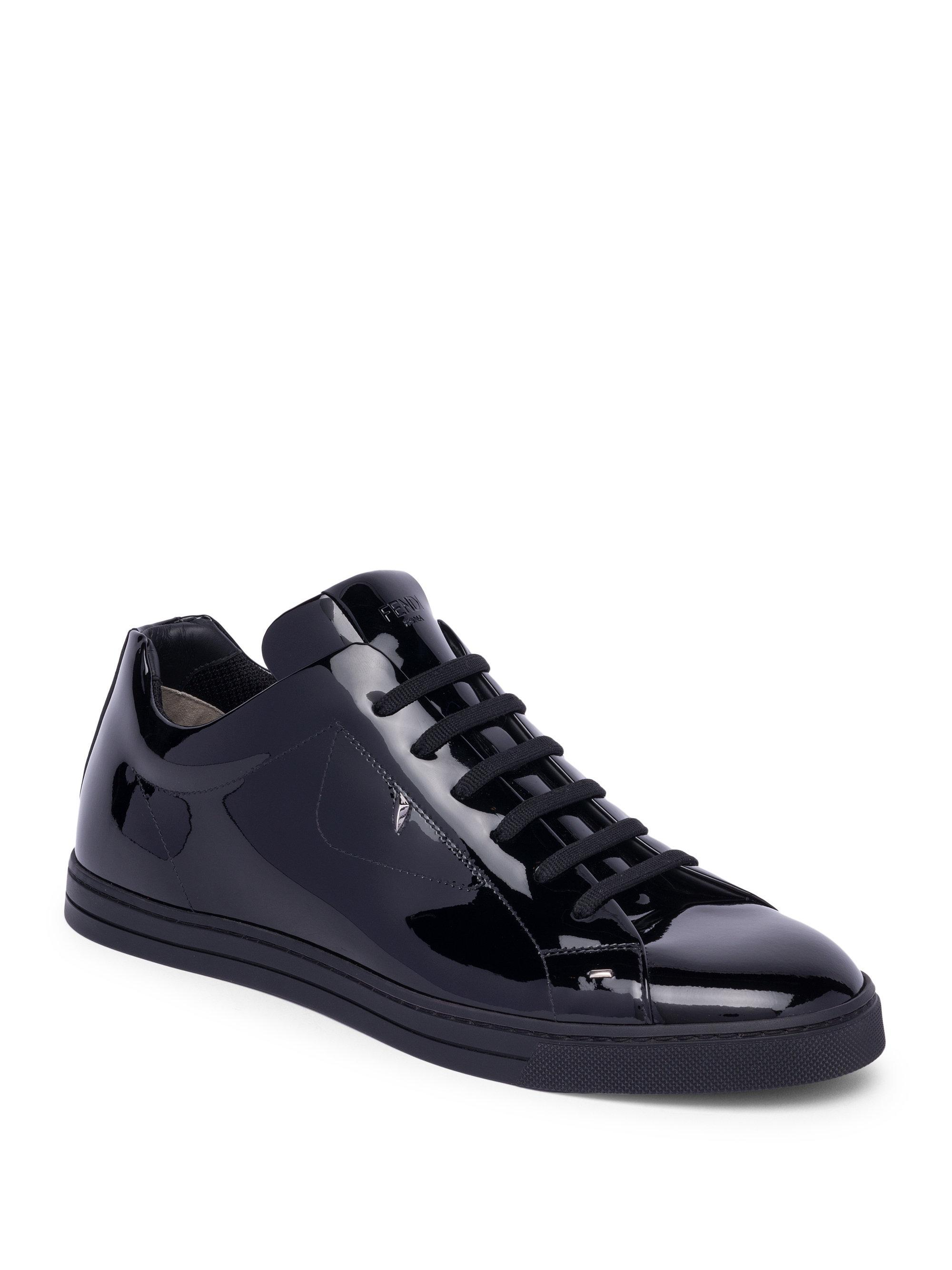 Fendi Monster Patent Leather Sneakers In Black For Men Lyst