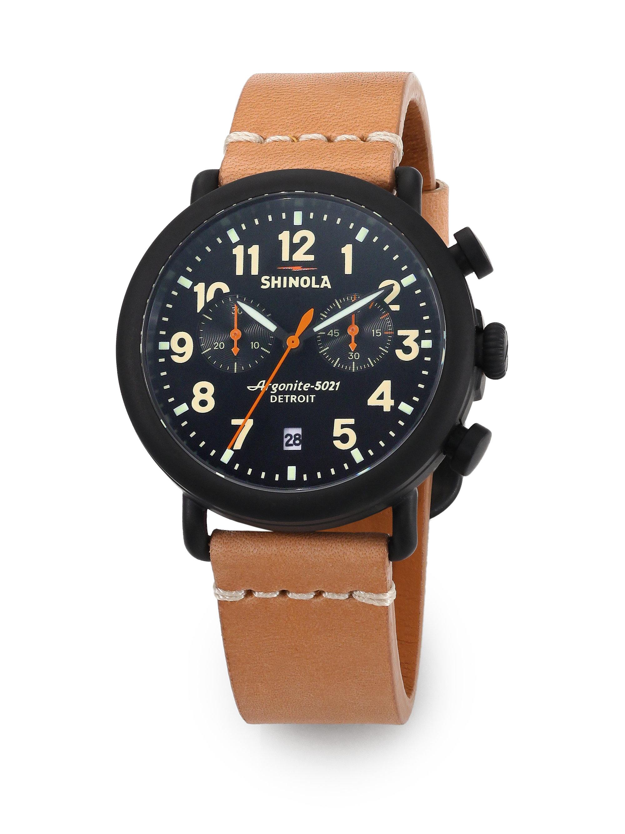 Lyst shinola argonite 5021 black brown watch in brown for men for Argonite watches