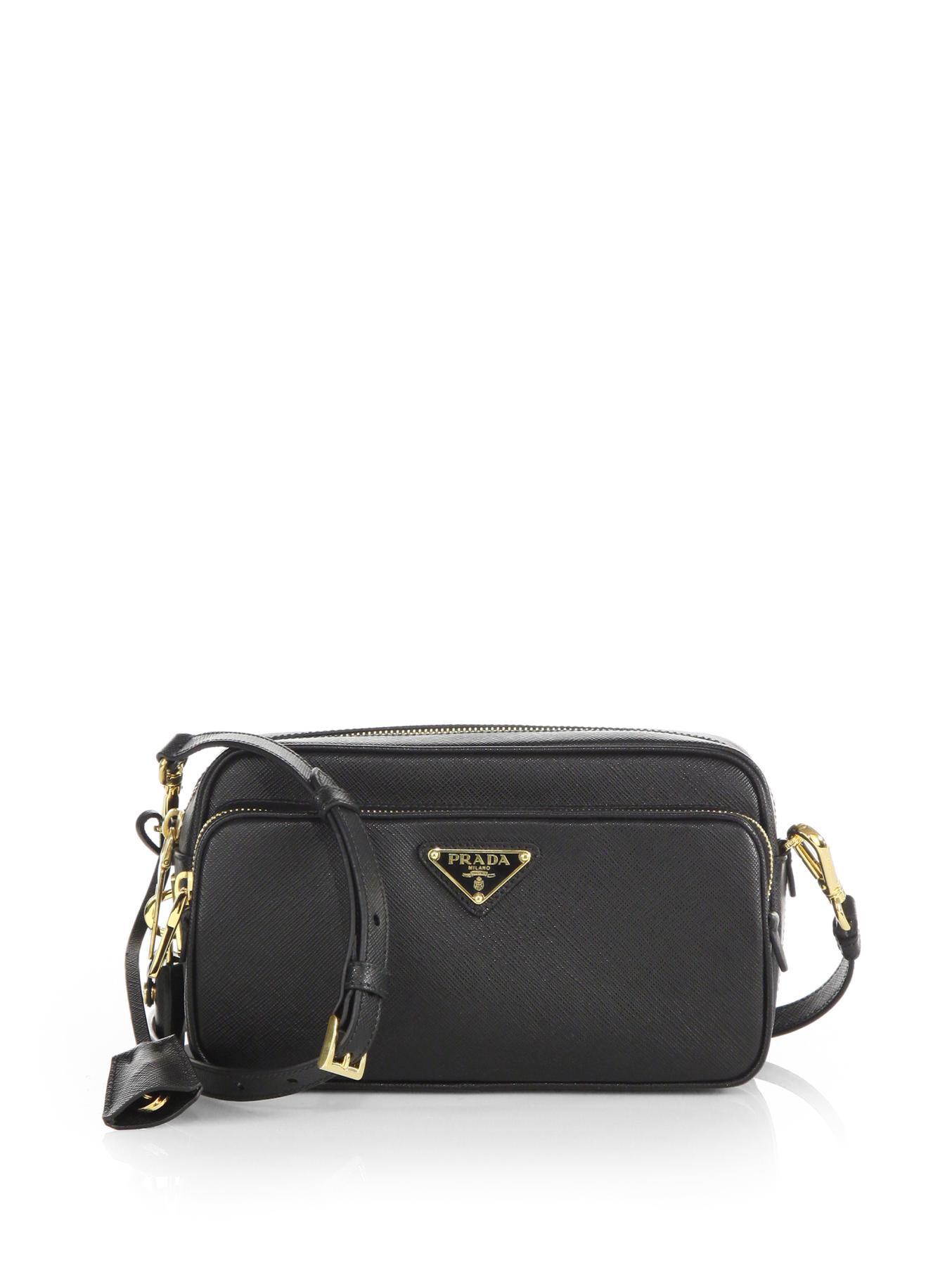 9160330742ad ... purchase lyst prada saffiano lux double zip crossbody bag in black  e7b49 a98a8