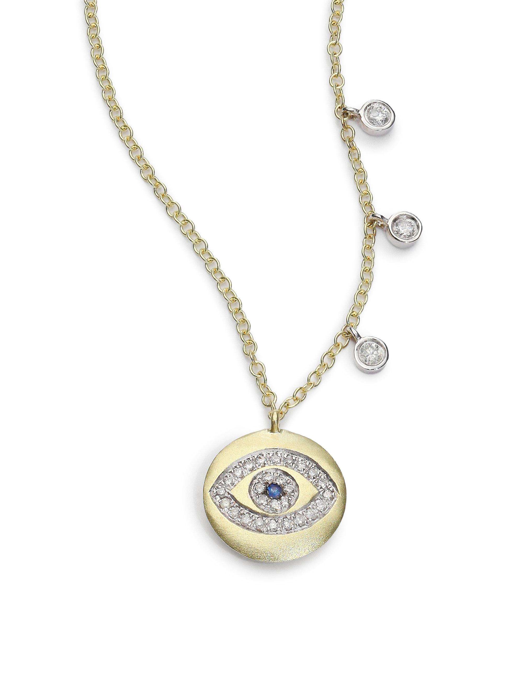 meira t sapphire diamond 14k yellow gold evil eye disc. Black Bedroom Furniture Sets. Home Design Ideas
