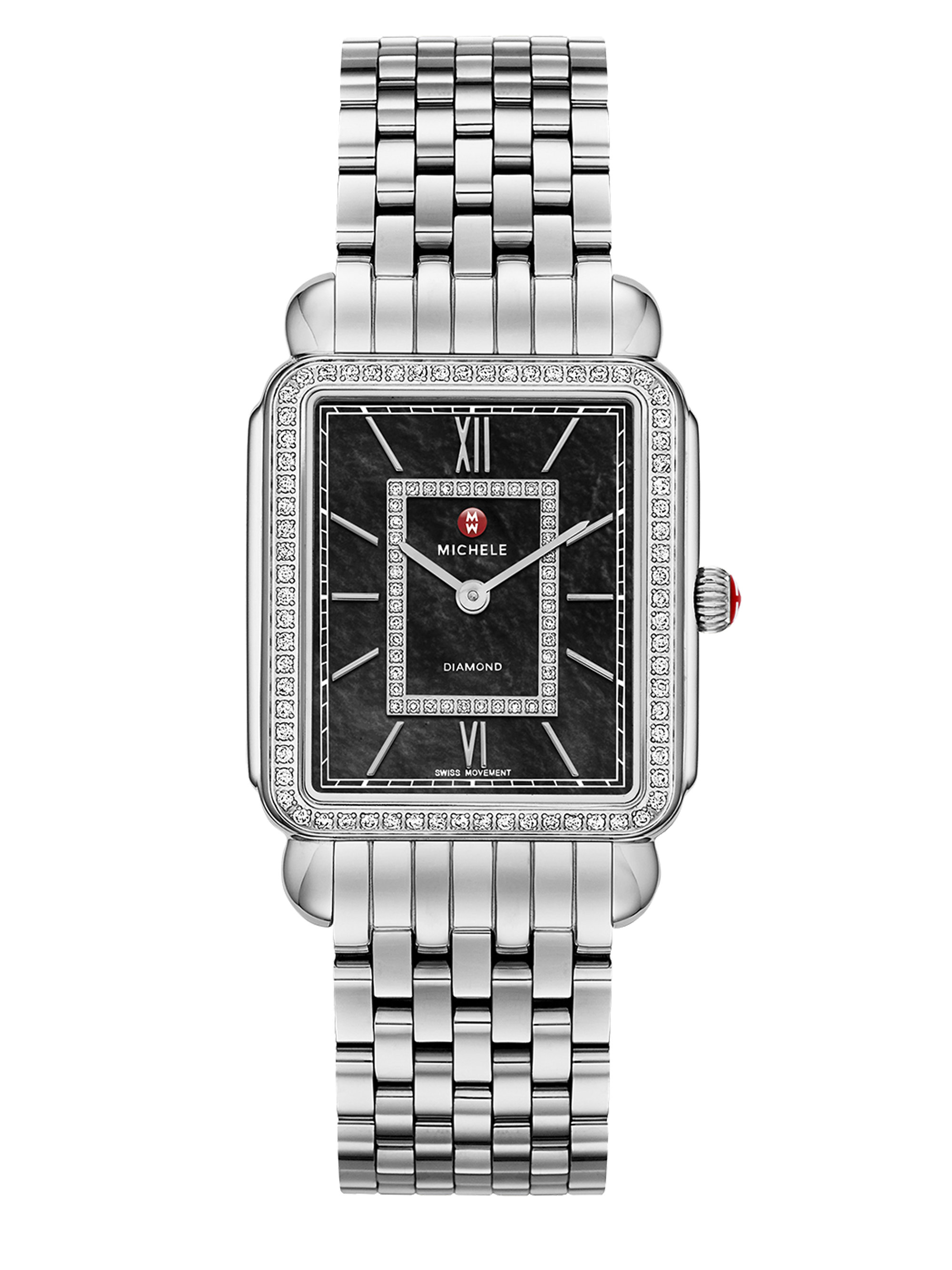 michele watches deco ii 18 diamond black mother of pearl michele watches