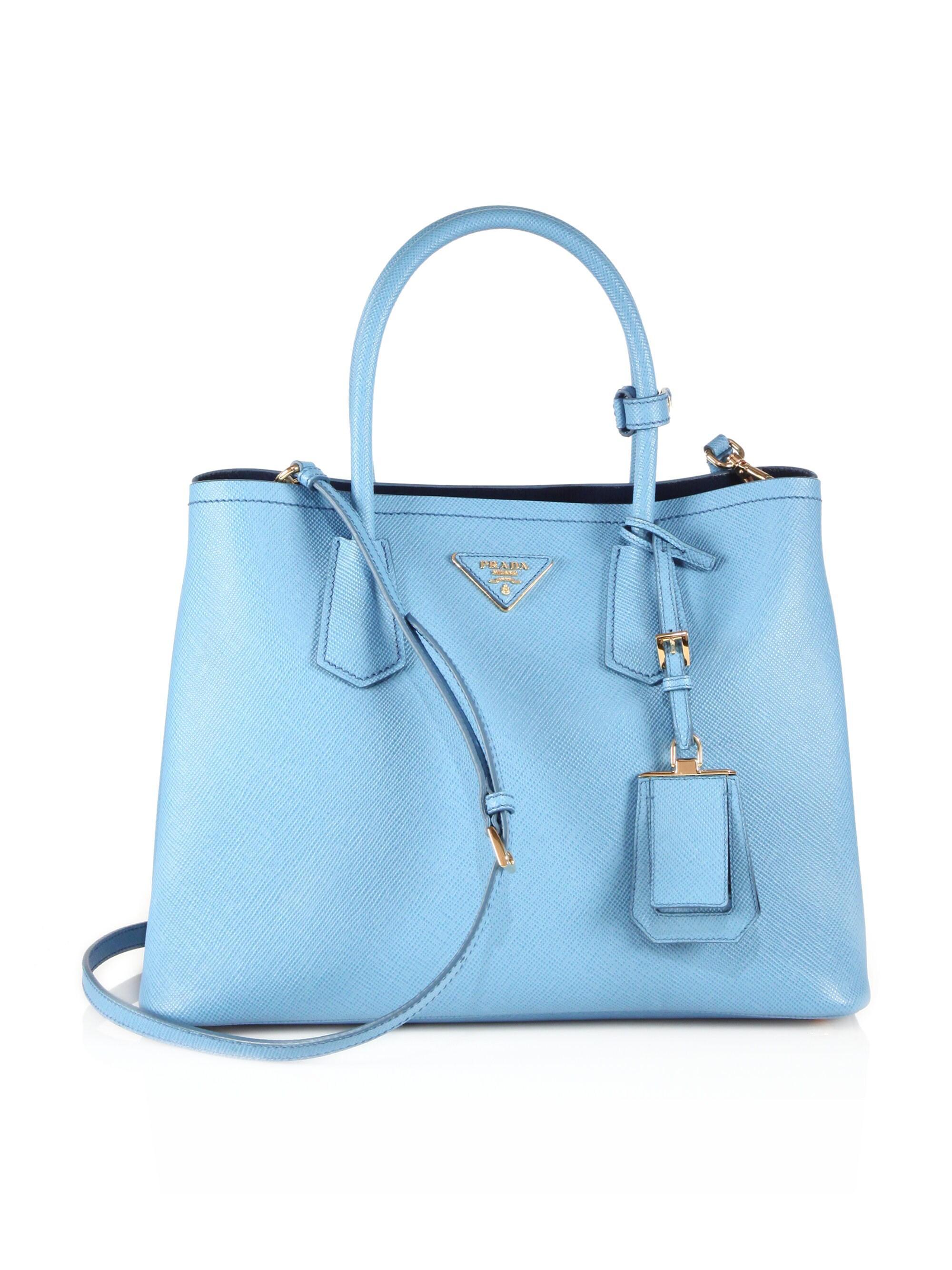 ada885cd202a4e Prada Saffiano Cuir Medium Double Bag in Blue - Lyst