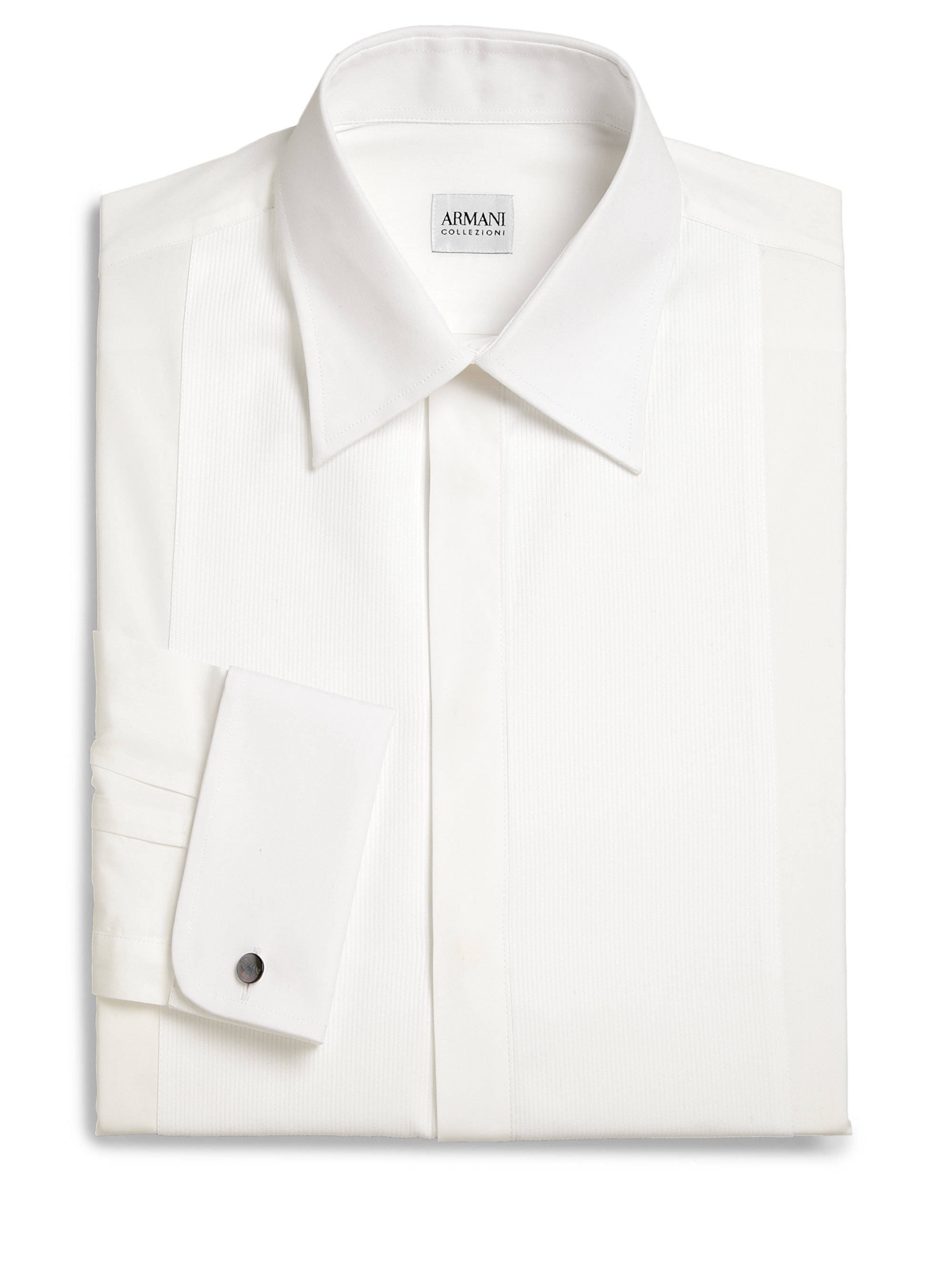 Armani french cuff tuxedo shirt in white for men lyst for Mens white french cuff shirt