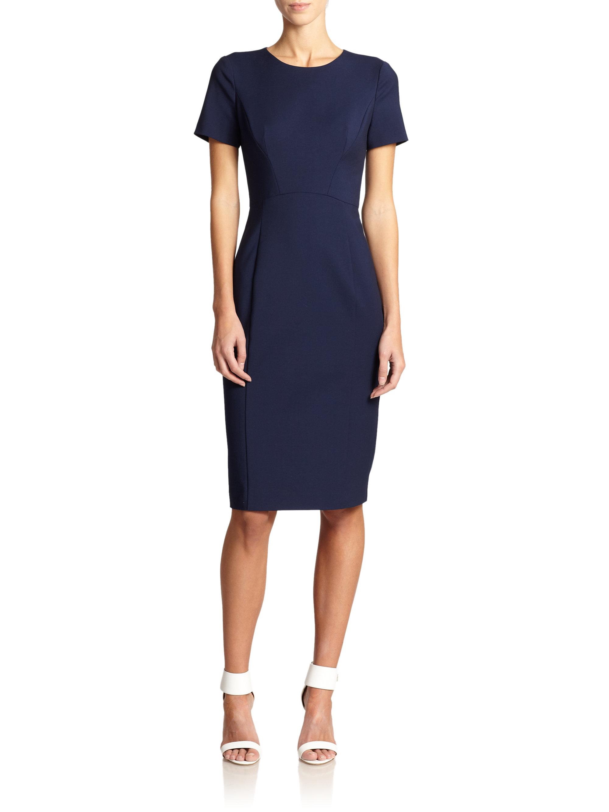 Black halo jodee sheath dress in blue lyst for Saks fifth avenue wedding guest dresses
