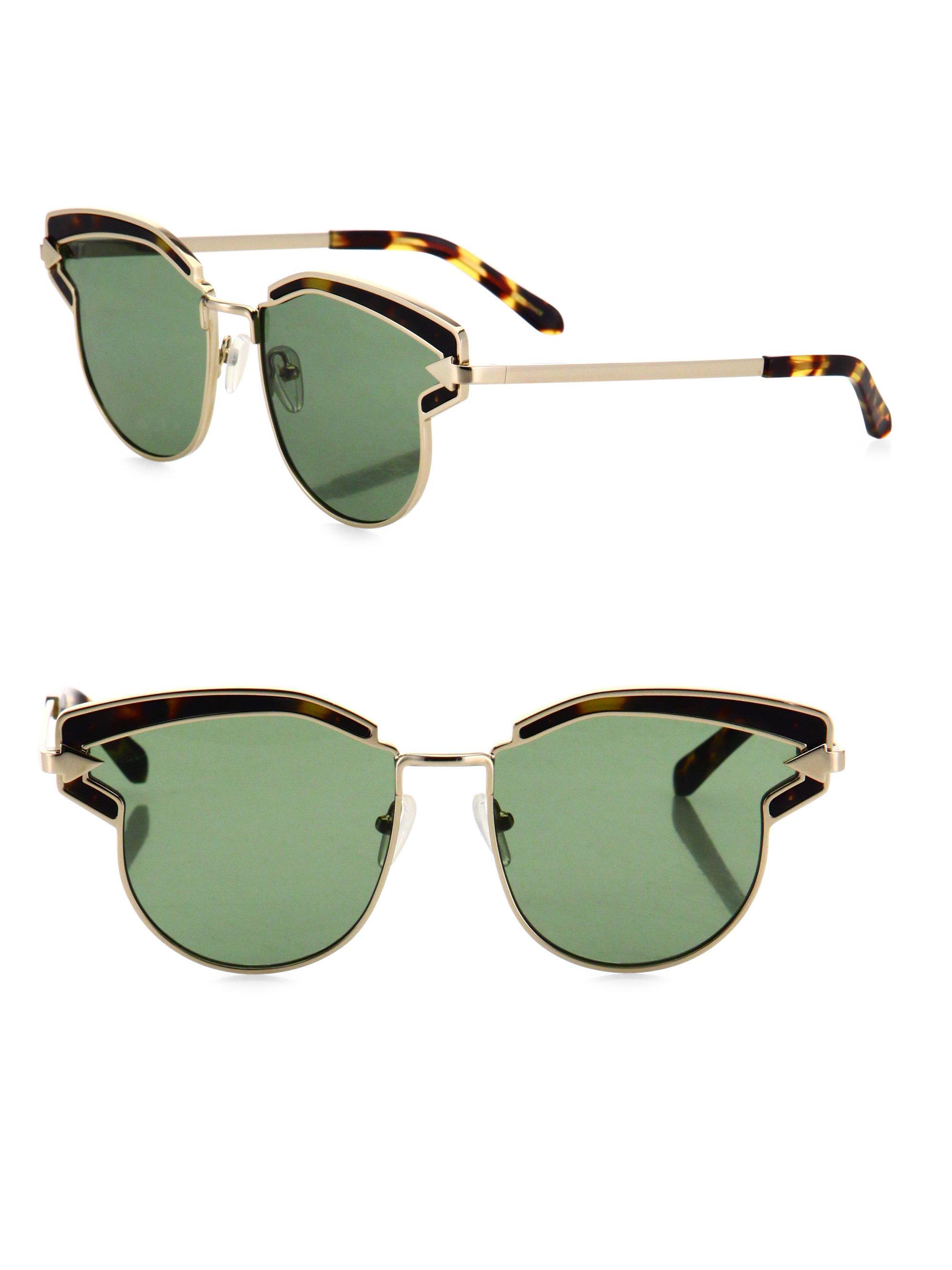e6439de1d3b0 Lyst - Karen Walker Felipe 57mm Round Sunglasses in Metallic