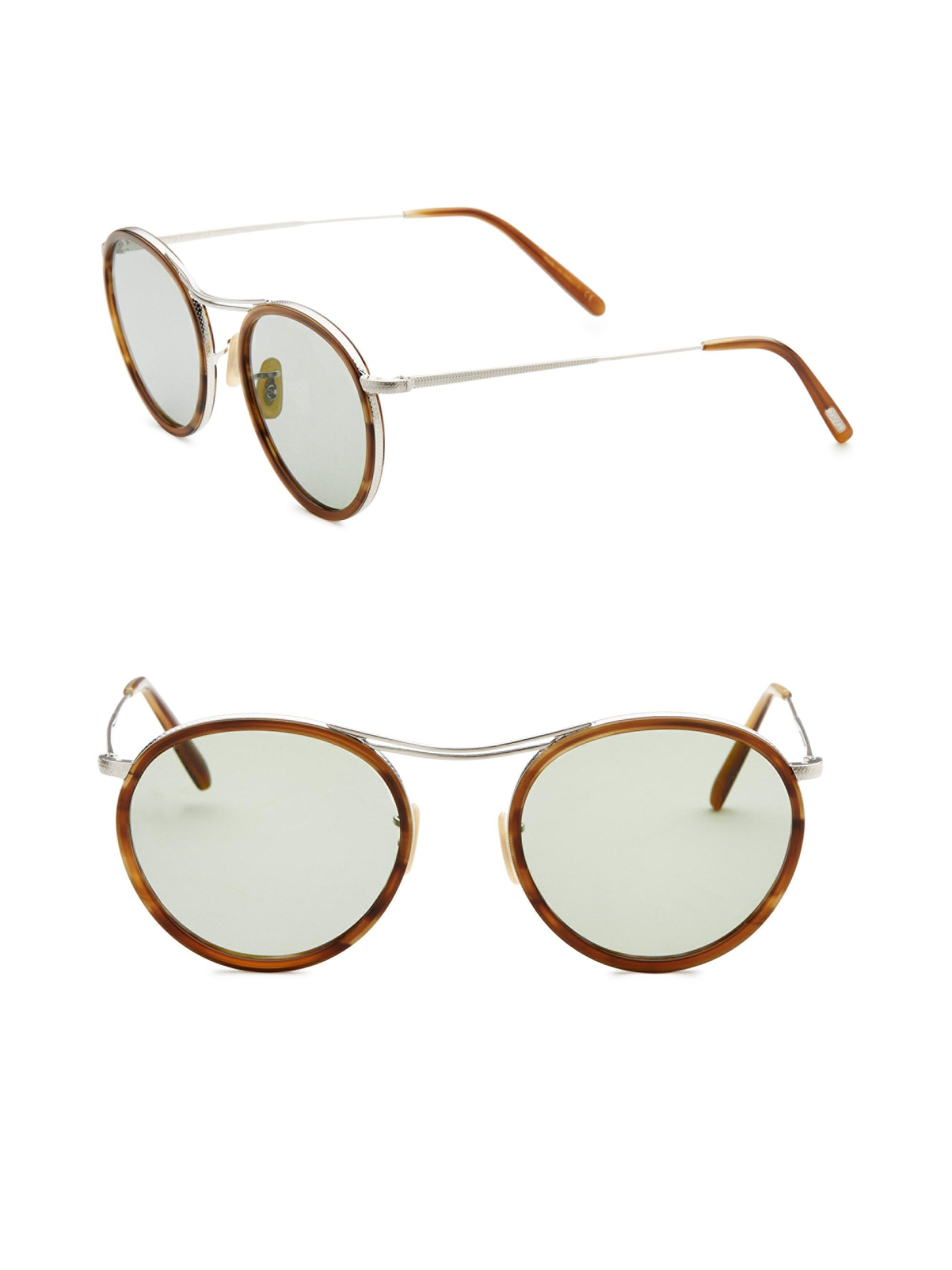 b61da136ce Oliver Peoples 51mm Round Sunglasses in Brown for Men - Lyst