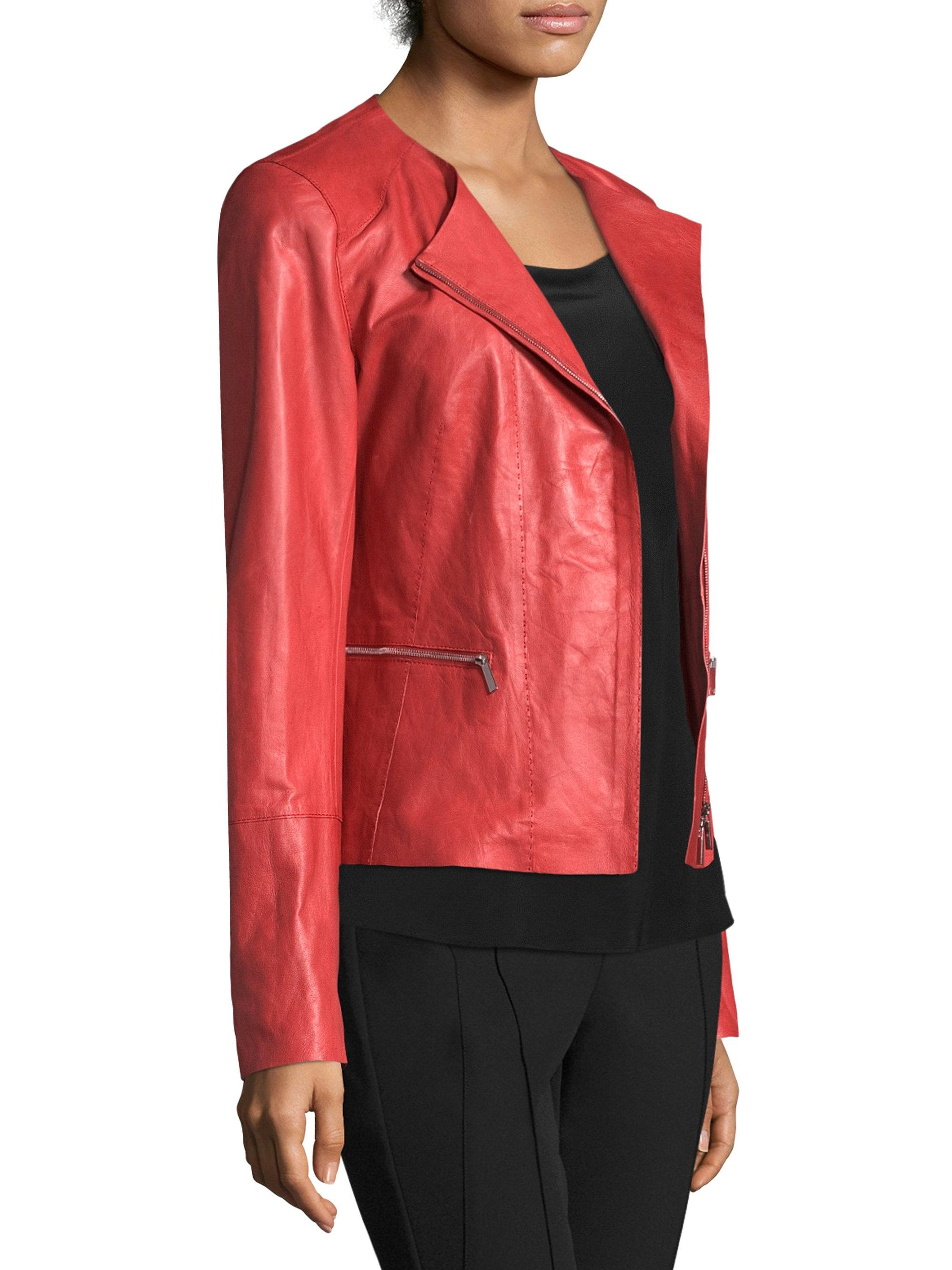 b87f3bc3d53 Lyst - Lafayette 148 New York Caridee Leather Jacket in Red