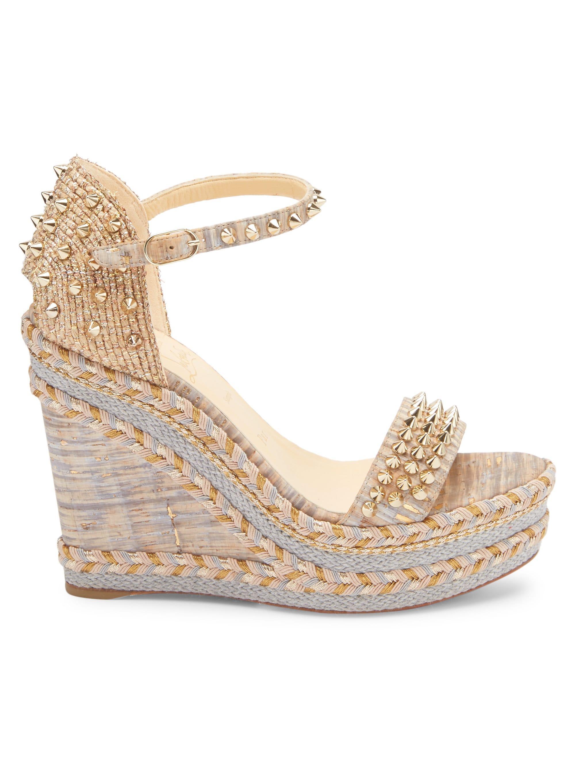1dceb0cf6d5 Christian Louboutin Multicolor Women's Mad Monica 120 Platform Wedge  Sandals - Tan