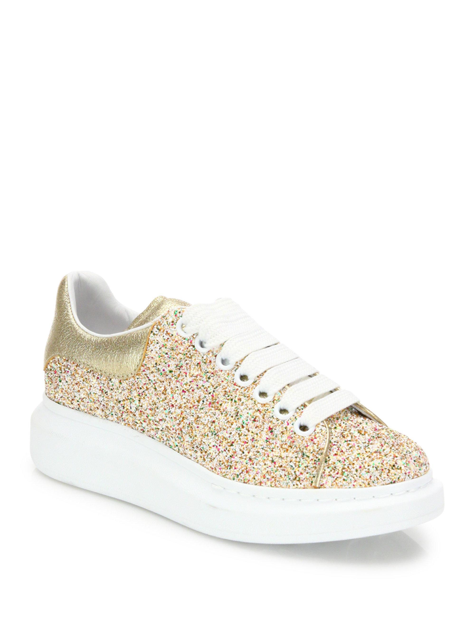 alexander mcqueen gold glitter trainers