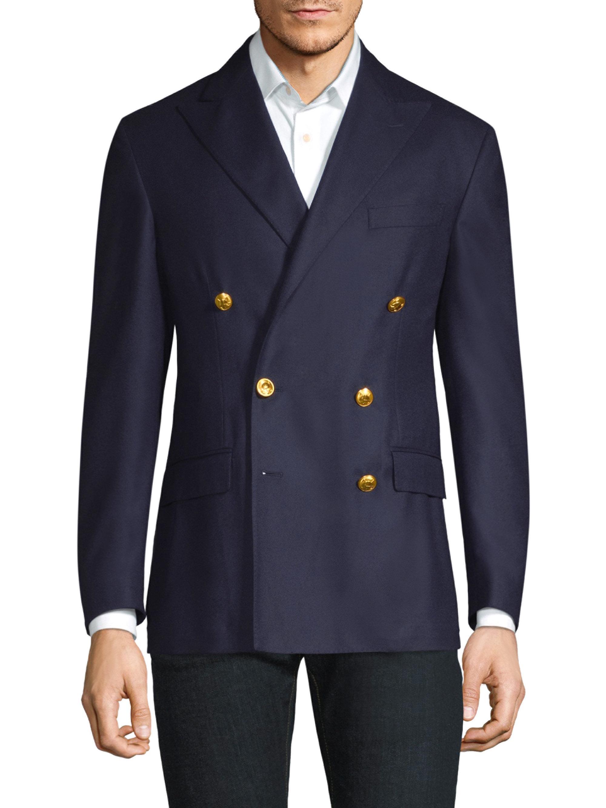 Polo Ralph Lauren Doeskin Wool Double Breasted Blazer In