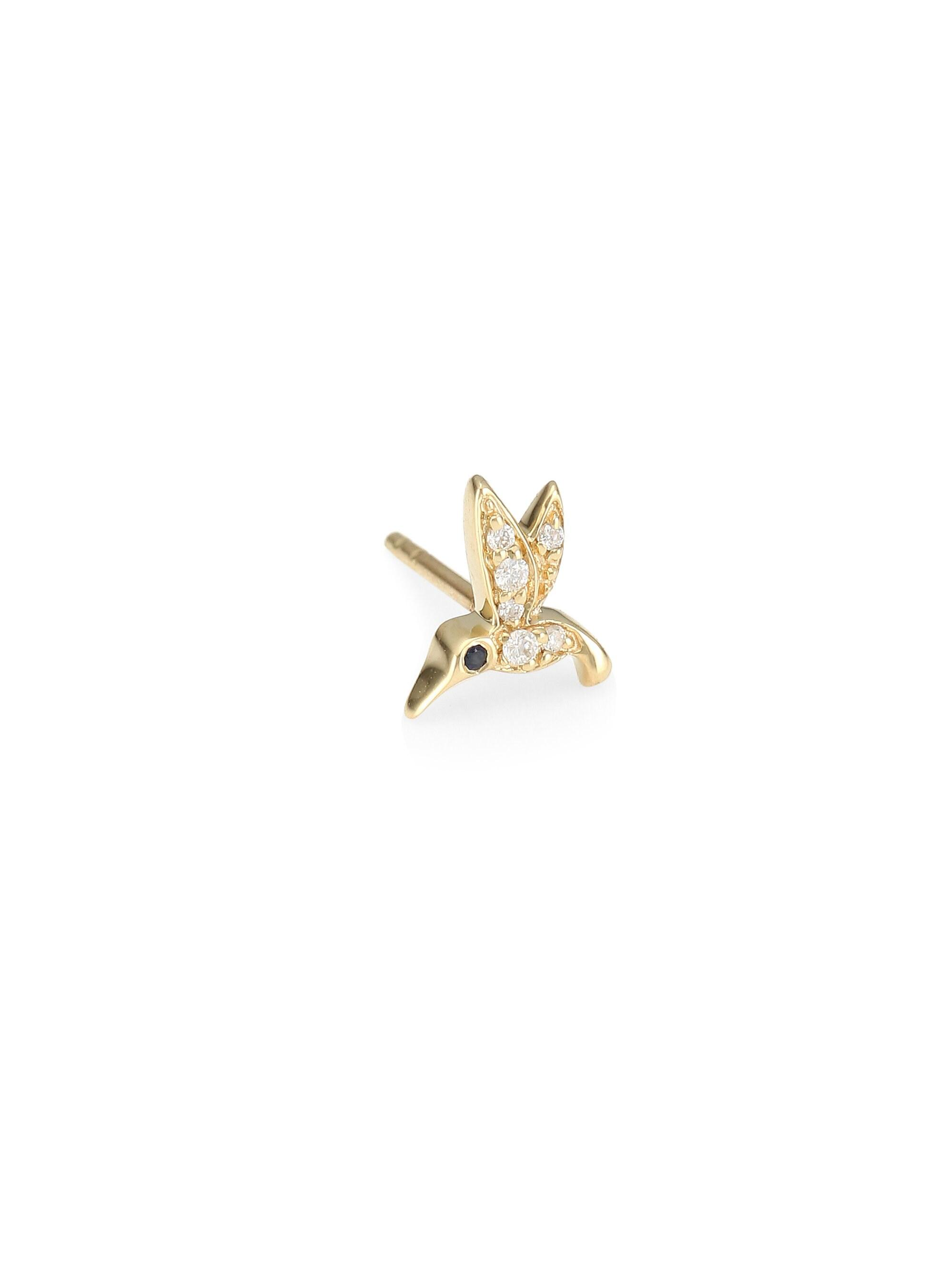 a4f70bd57 Sydney Evan - Metallic Tiny Hummingbird 14k Yellow Gold & Diamond Left Single  Stud Earring -. View fullscreen