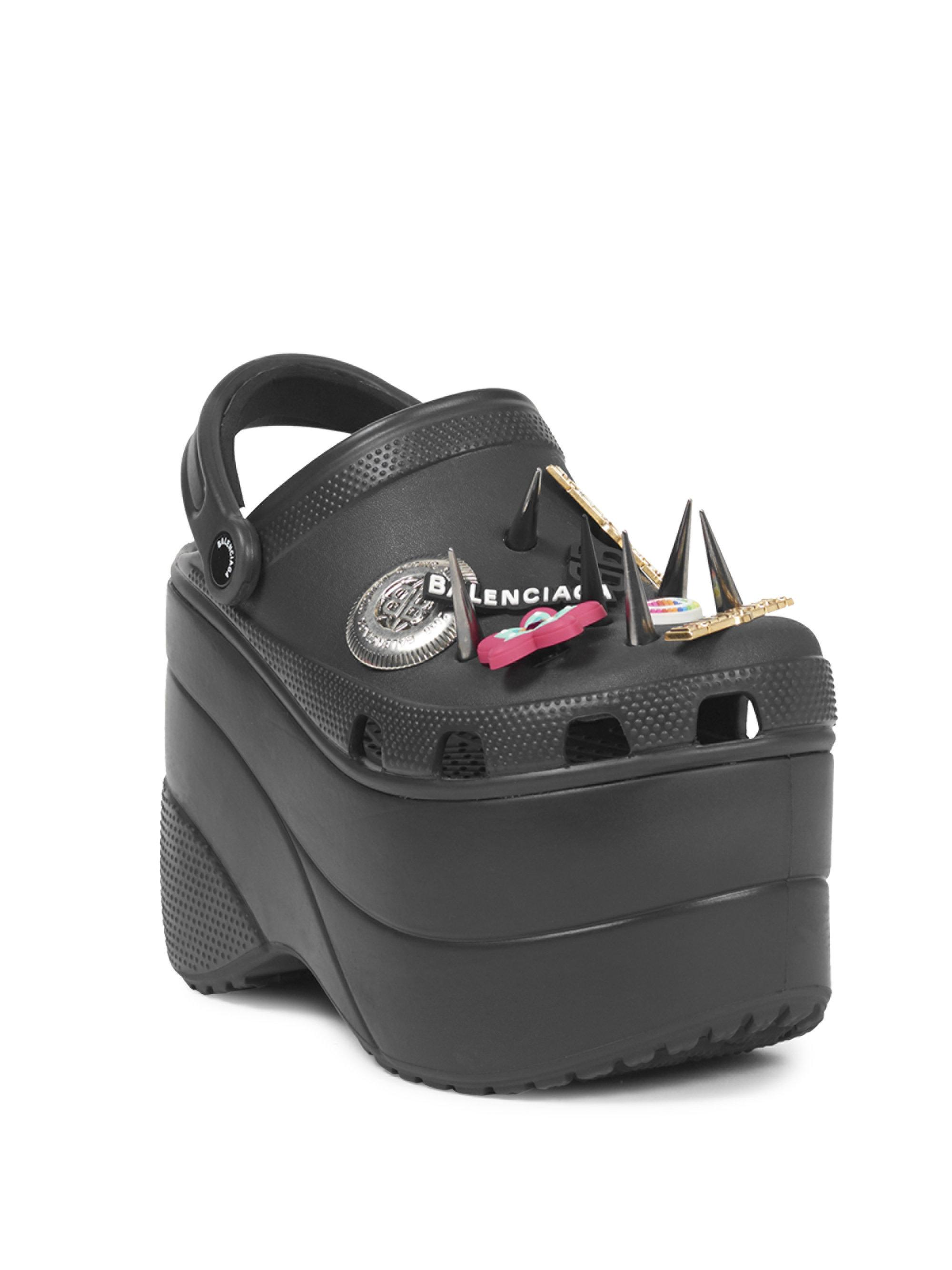 Balenciaga Black Foam Platform Crocs