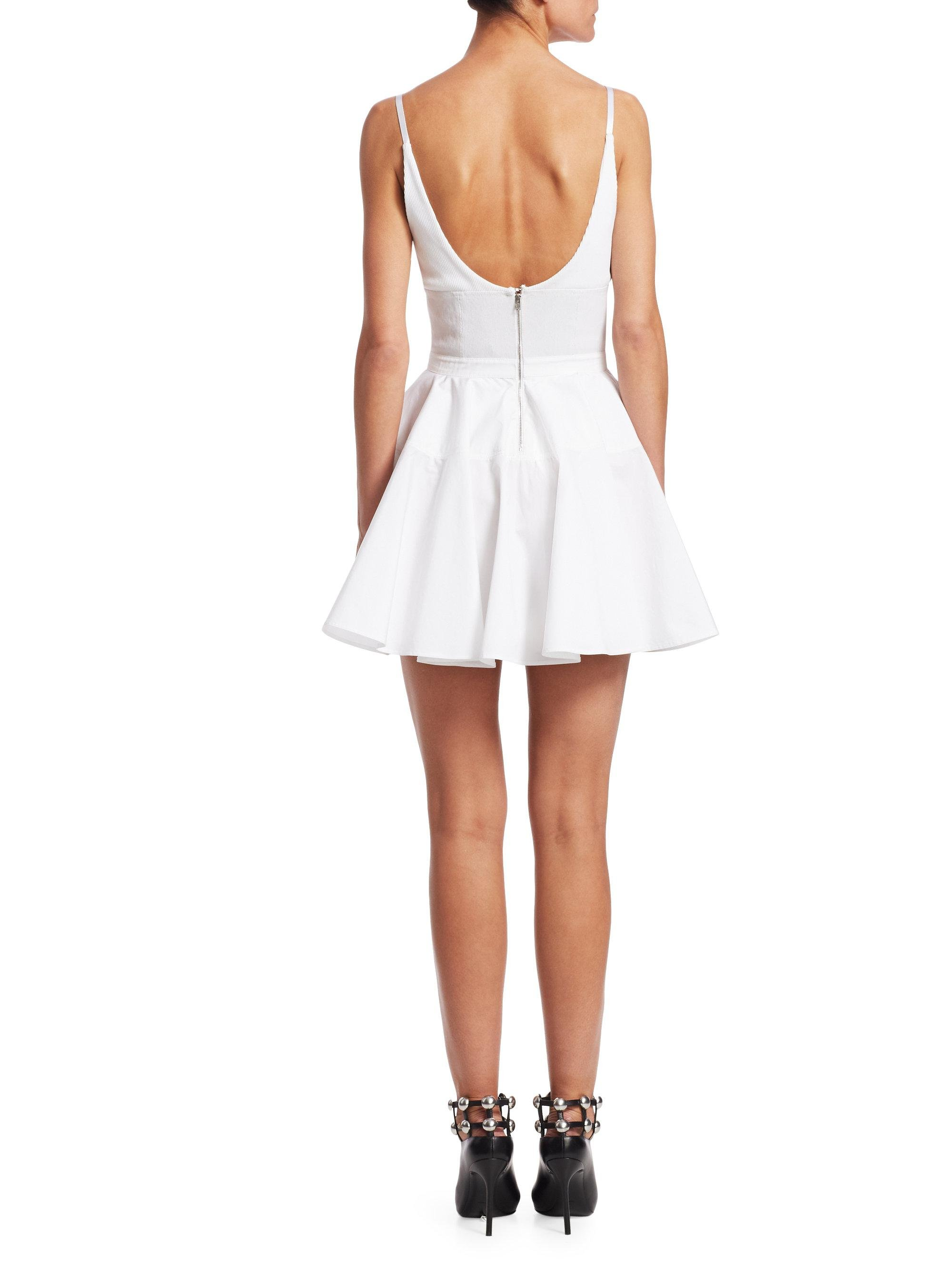 a2a7d2b5314 Alexander Wang Combo Fit-and-flare Dress in White - Lyst