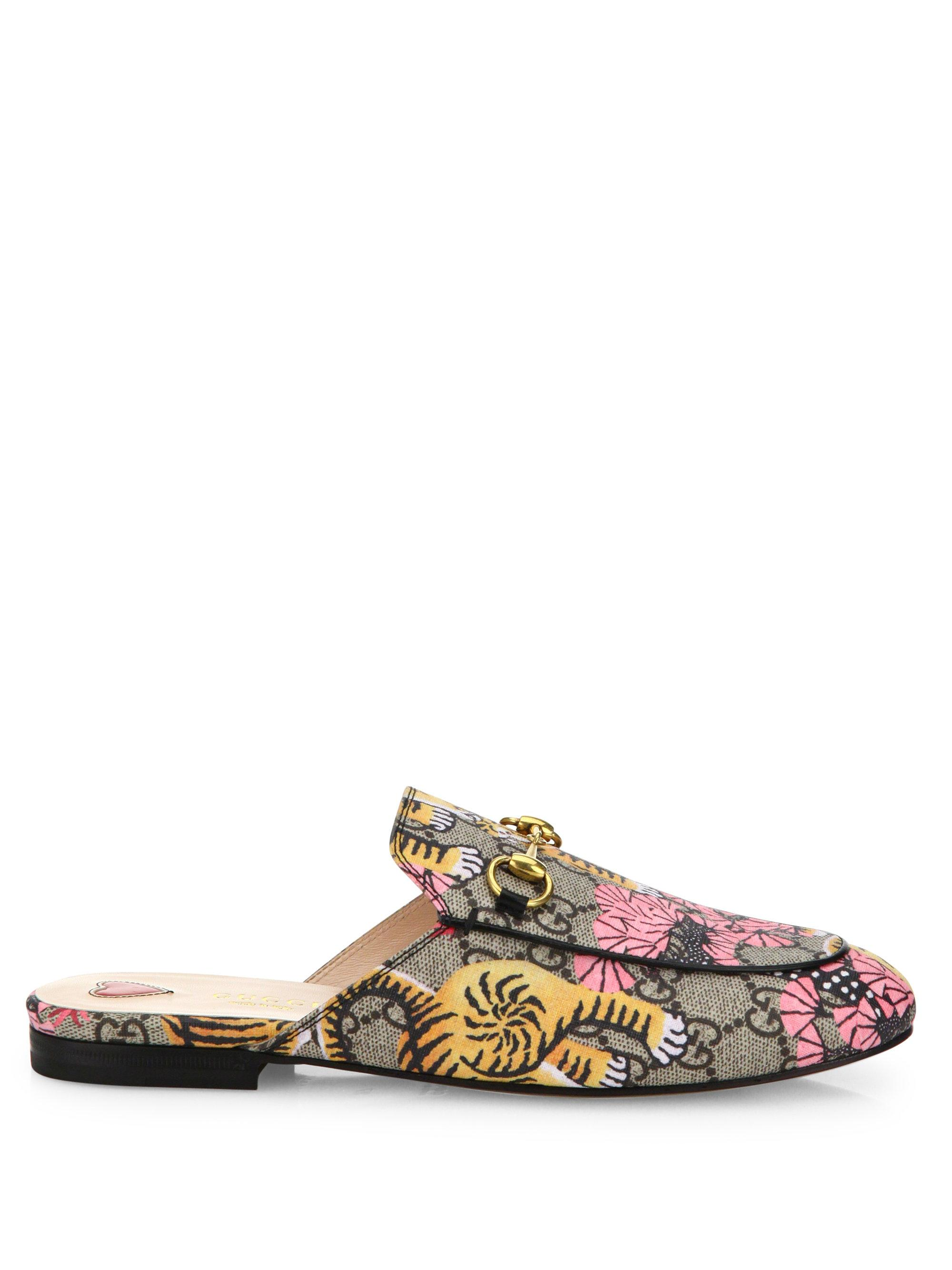 Lyst Gucci Princetown Tiger Canvas Slides In Natural