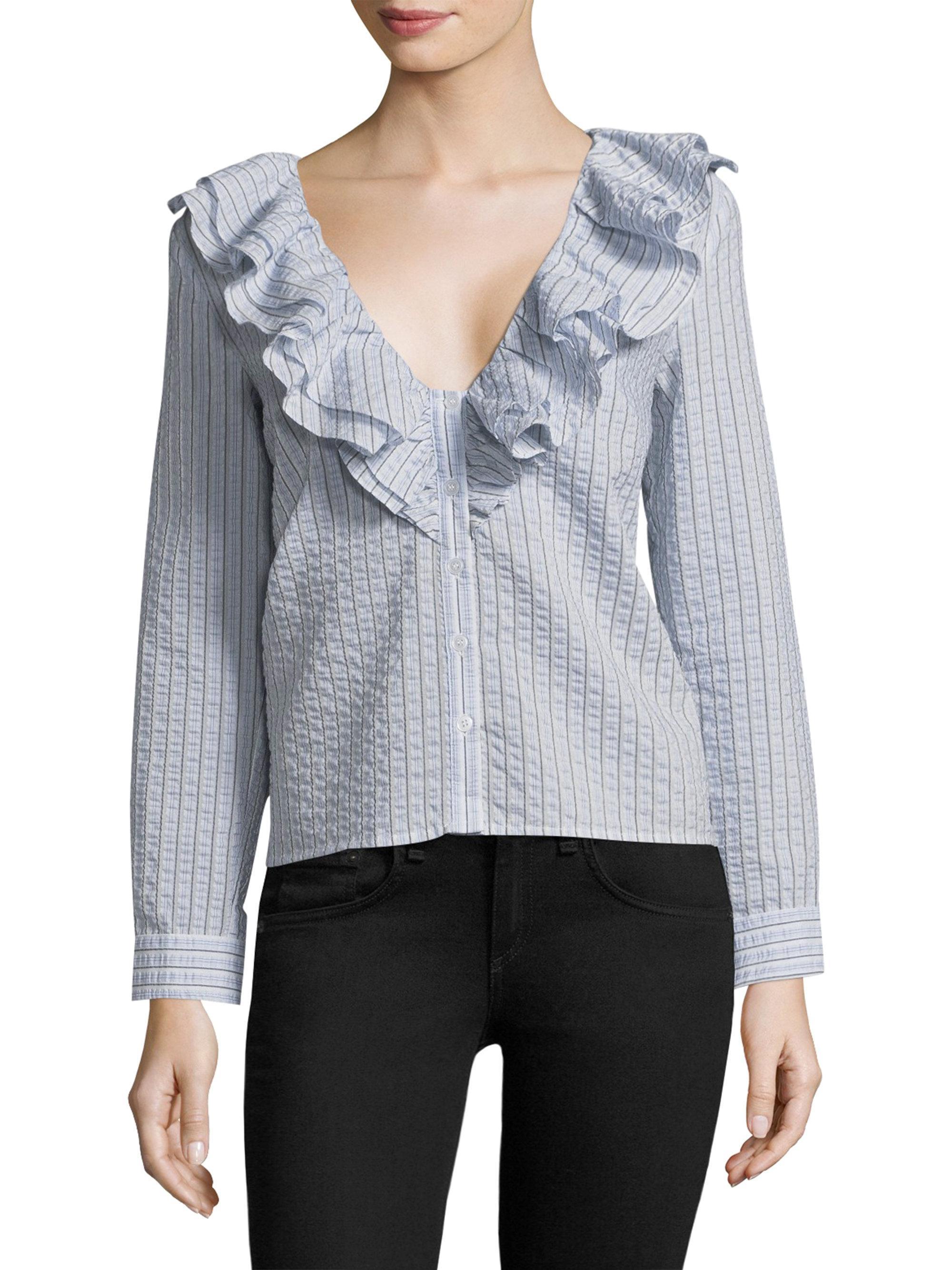 Sale Nicekicks Ganni Charron ruffle stripe shirt Find Great Cheap Online Free Shipping With Credit Card Great Deals Sale Online Wu5qon