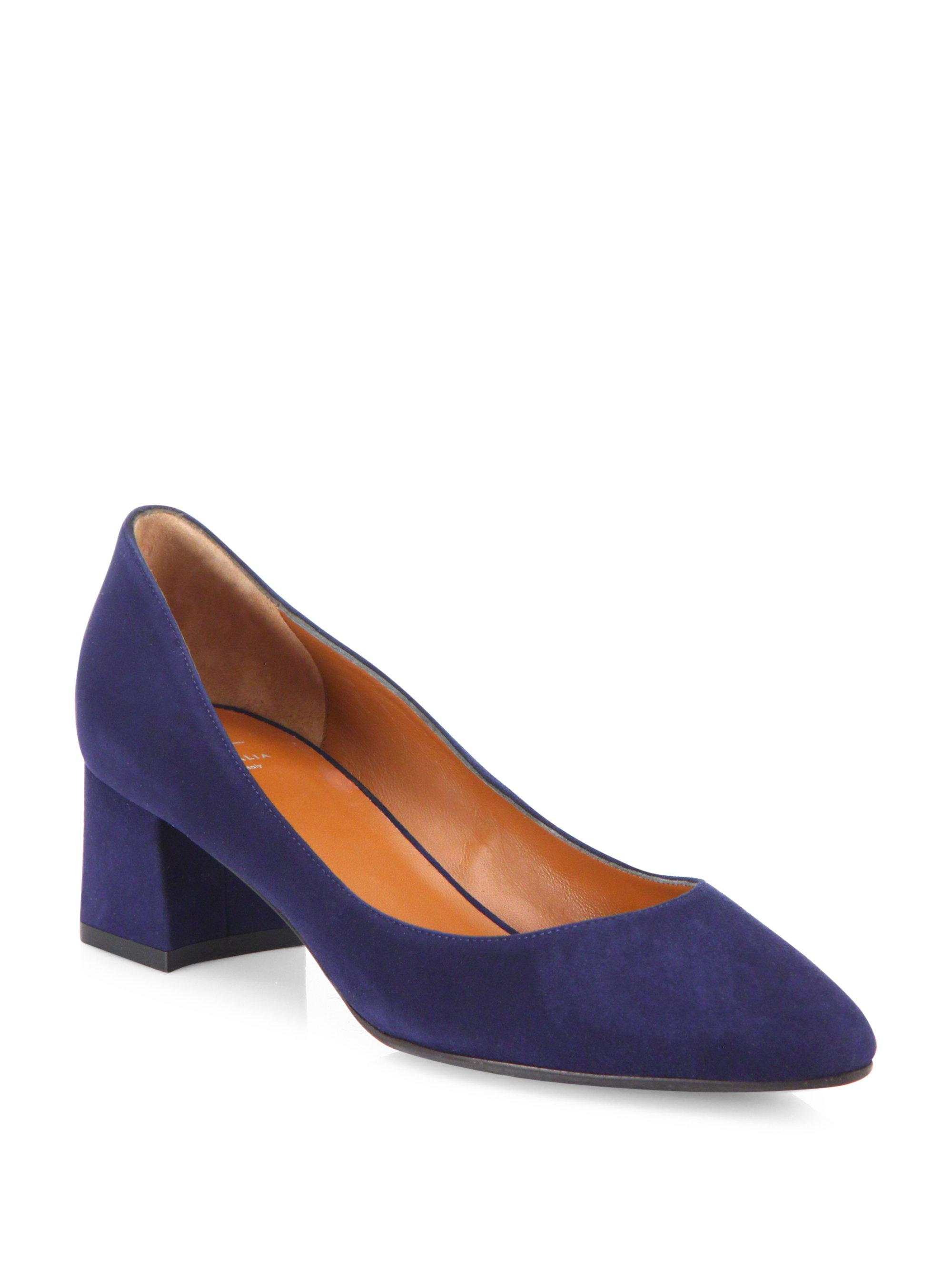 6277e40d810a Lyst - Aquatalia Phoebe Suede Block Heel Pumps in Blue