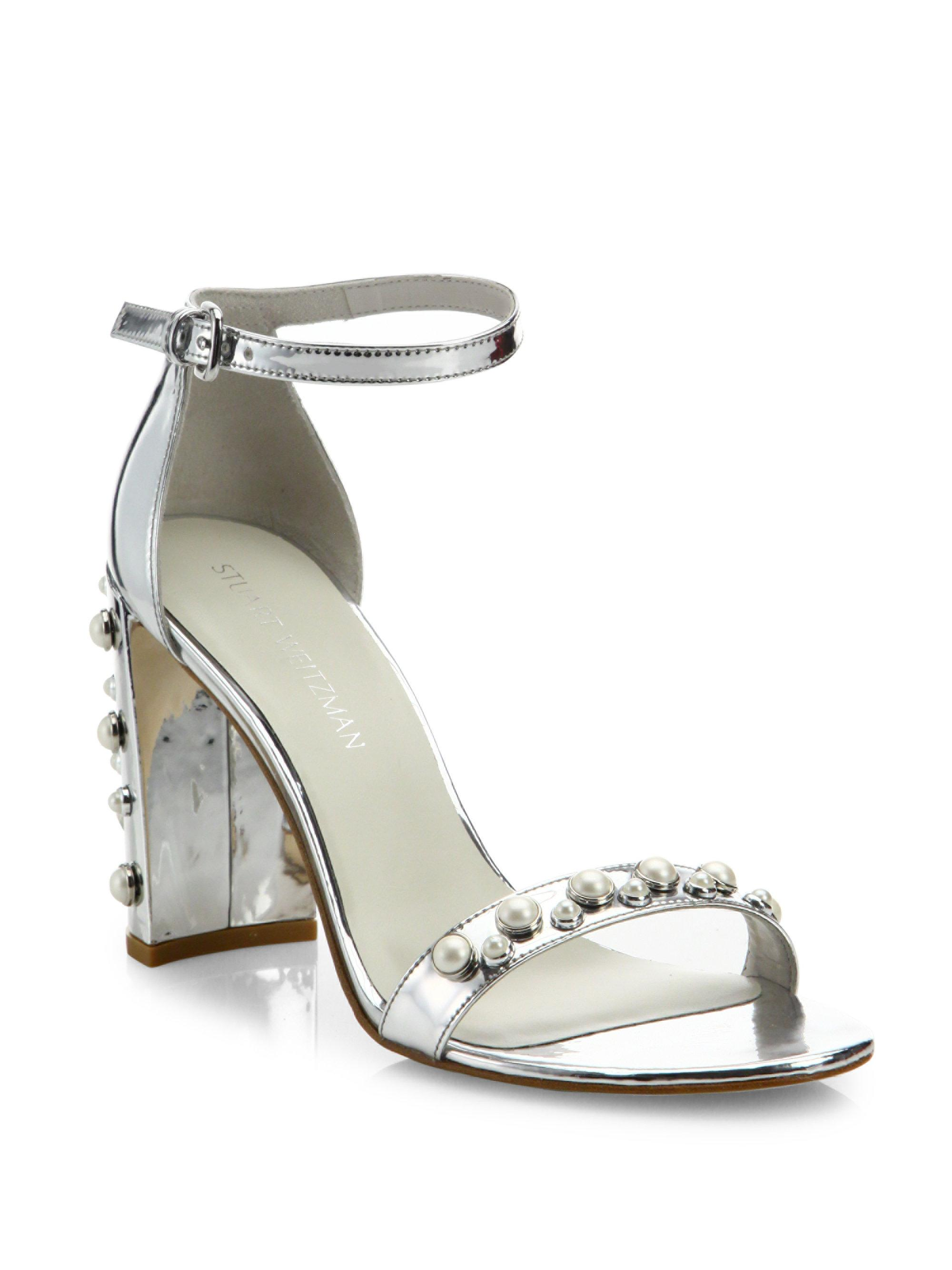 fabe16debeb Lyst - Stuart Weitzman Morepearls Studded Metallic Ankle Strap ...