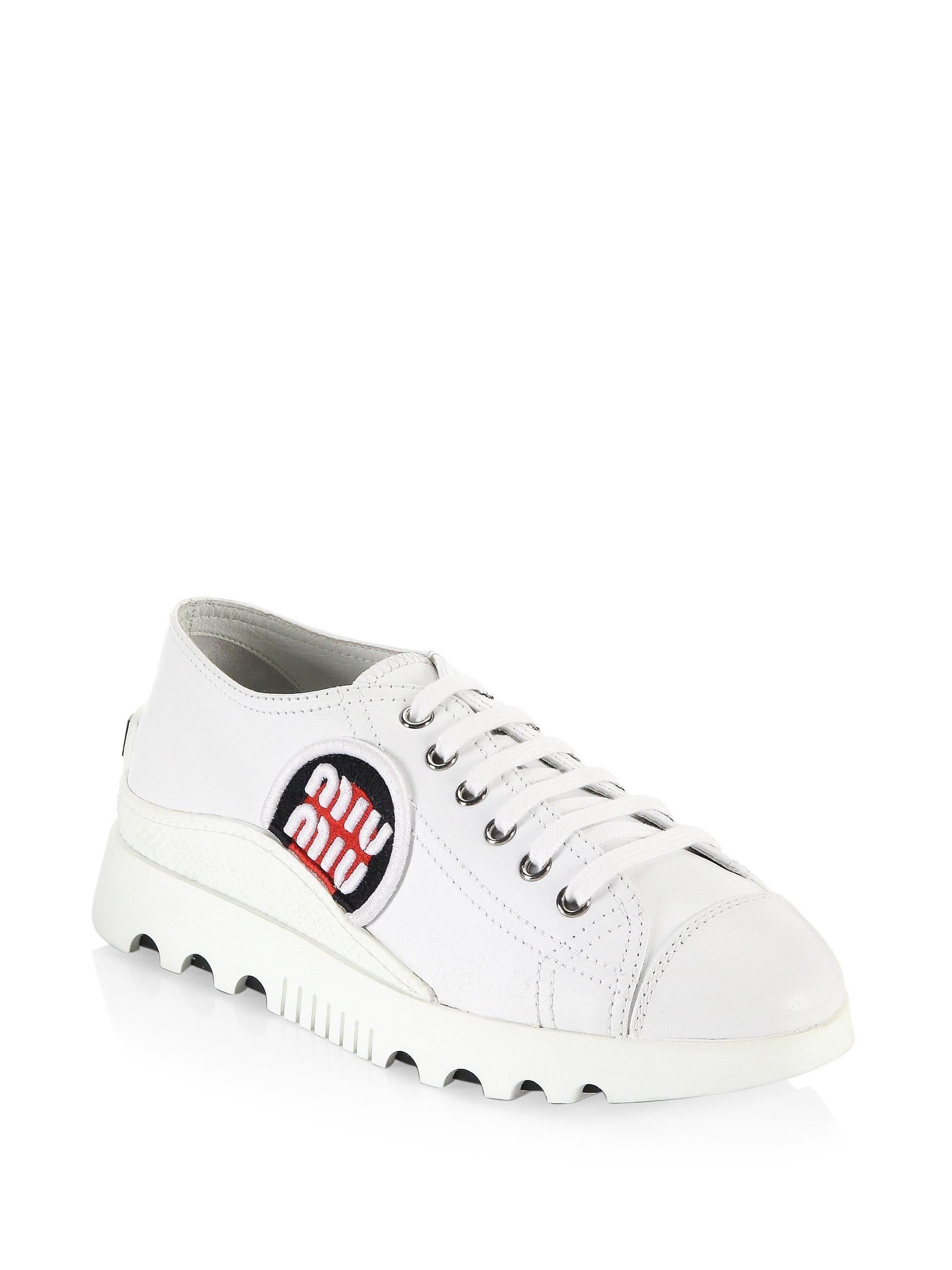 Miu Miu Patch Leather Sneakers O6EnDO7U0t