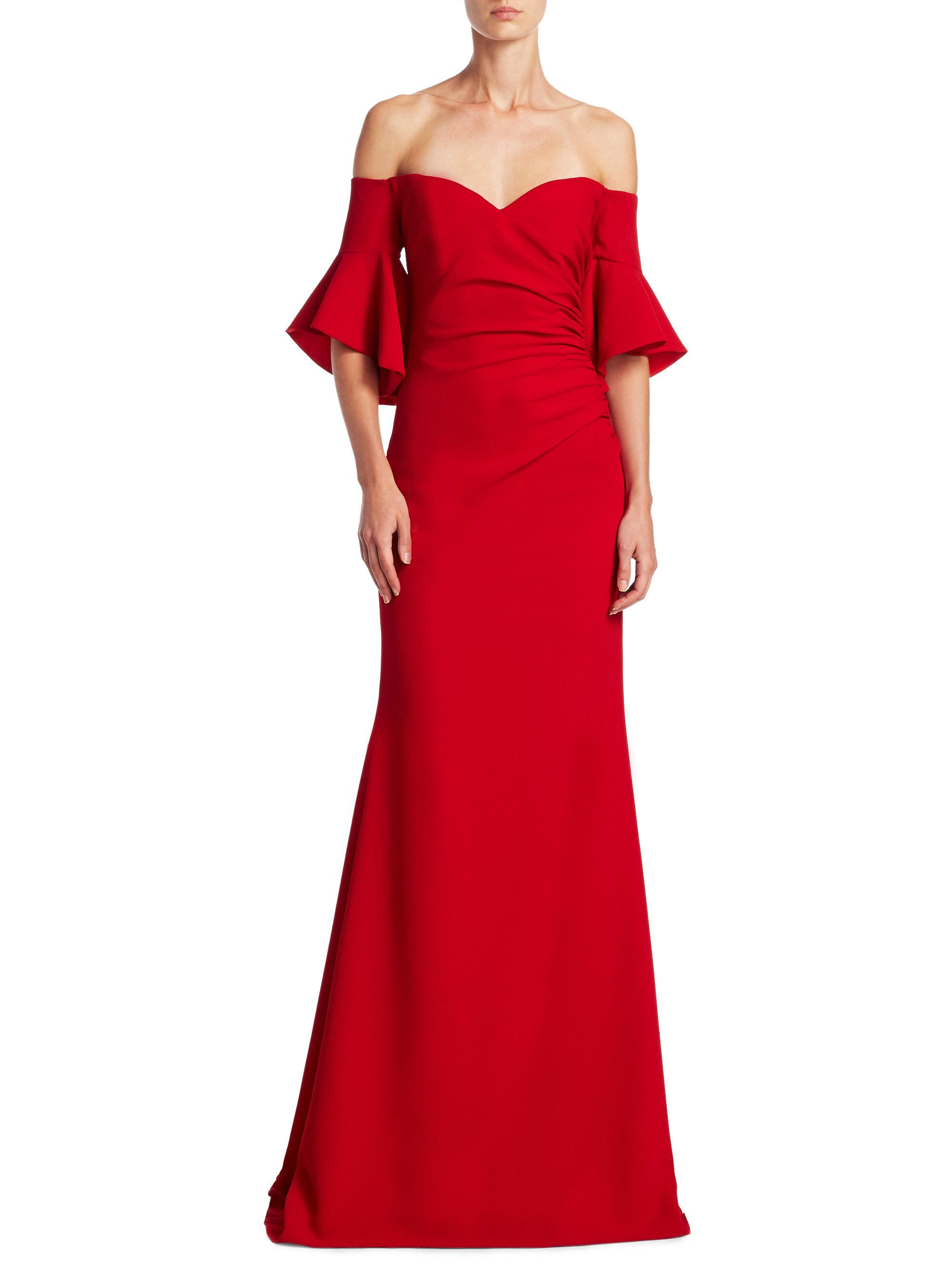 Badgley mischka Off-the-shoulder Bell Sleeve Gown in Red ...