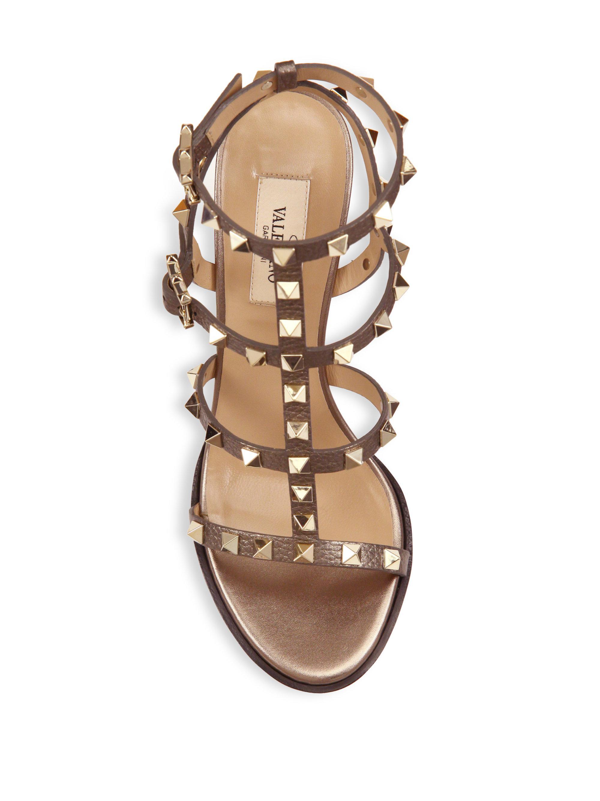 9e44bc77f29 Valentino Rockstud Metallic Leather Cage Block Heel Sandals in ...