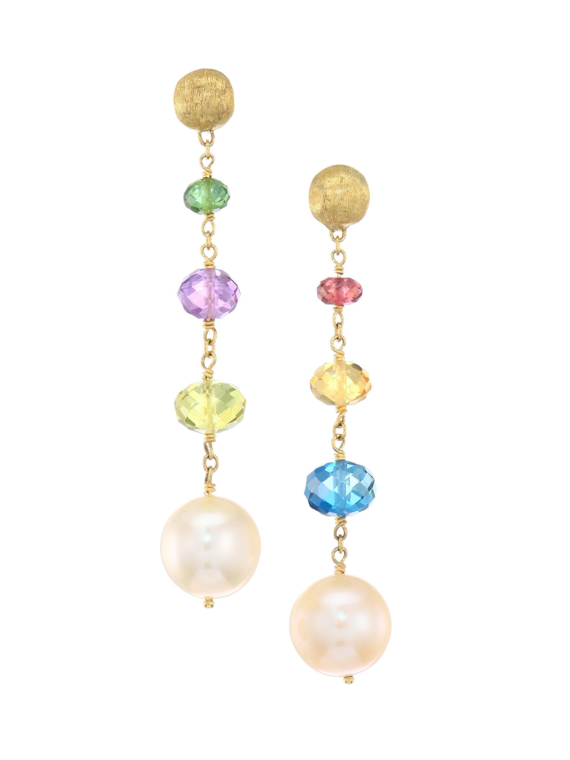 efc09b2b3d0 Women's Africa 18k Yellow Gold Mixed Gemstone & 11mm Pearl Drop Earrings