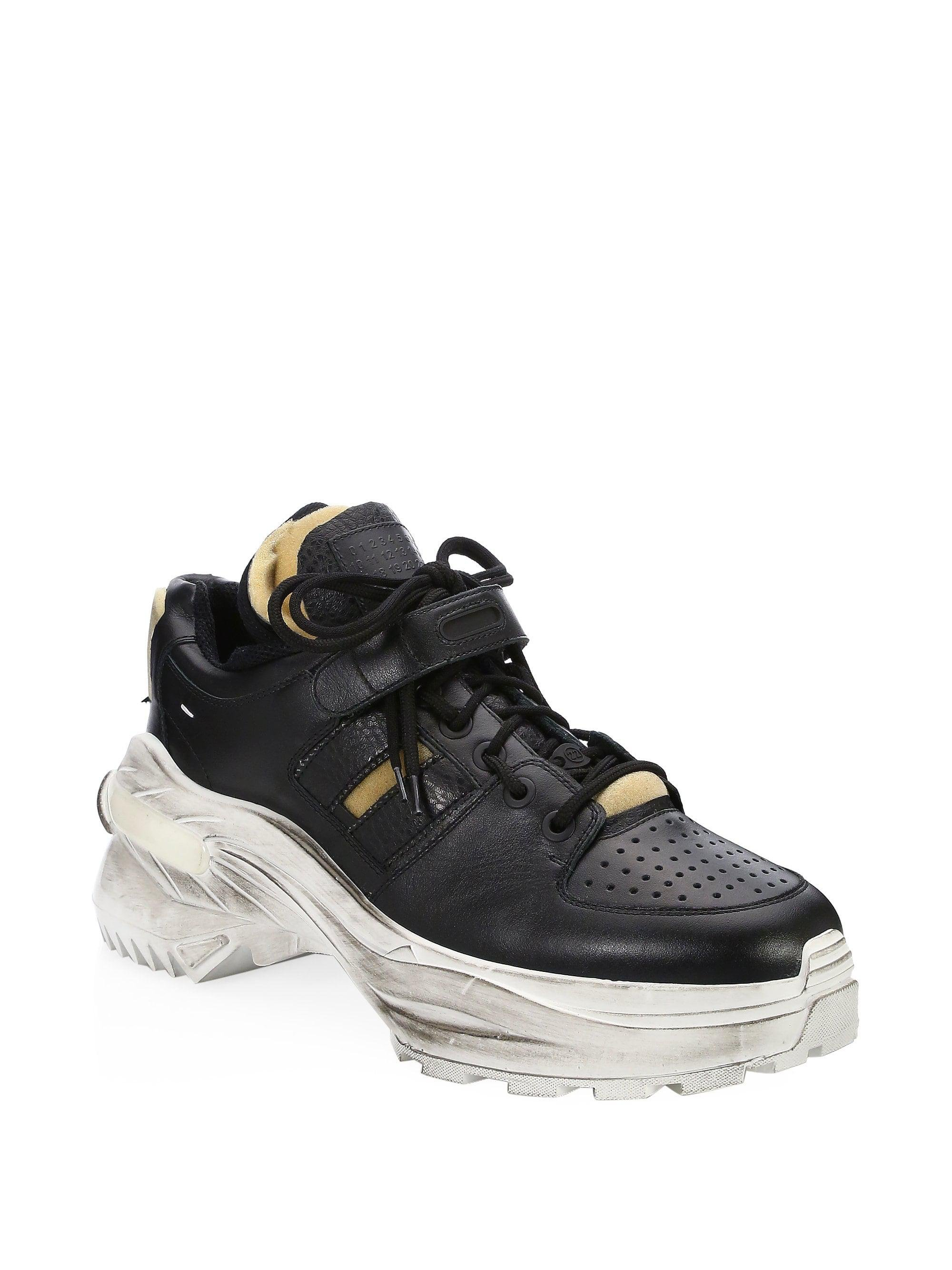 Lyst Maison Margiela Artisanal Leather Chunky Sneakers In Black