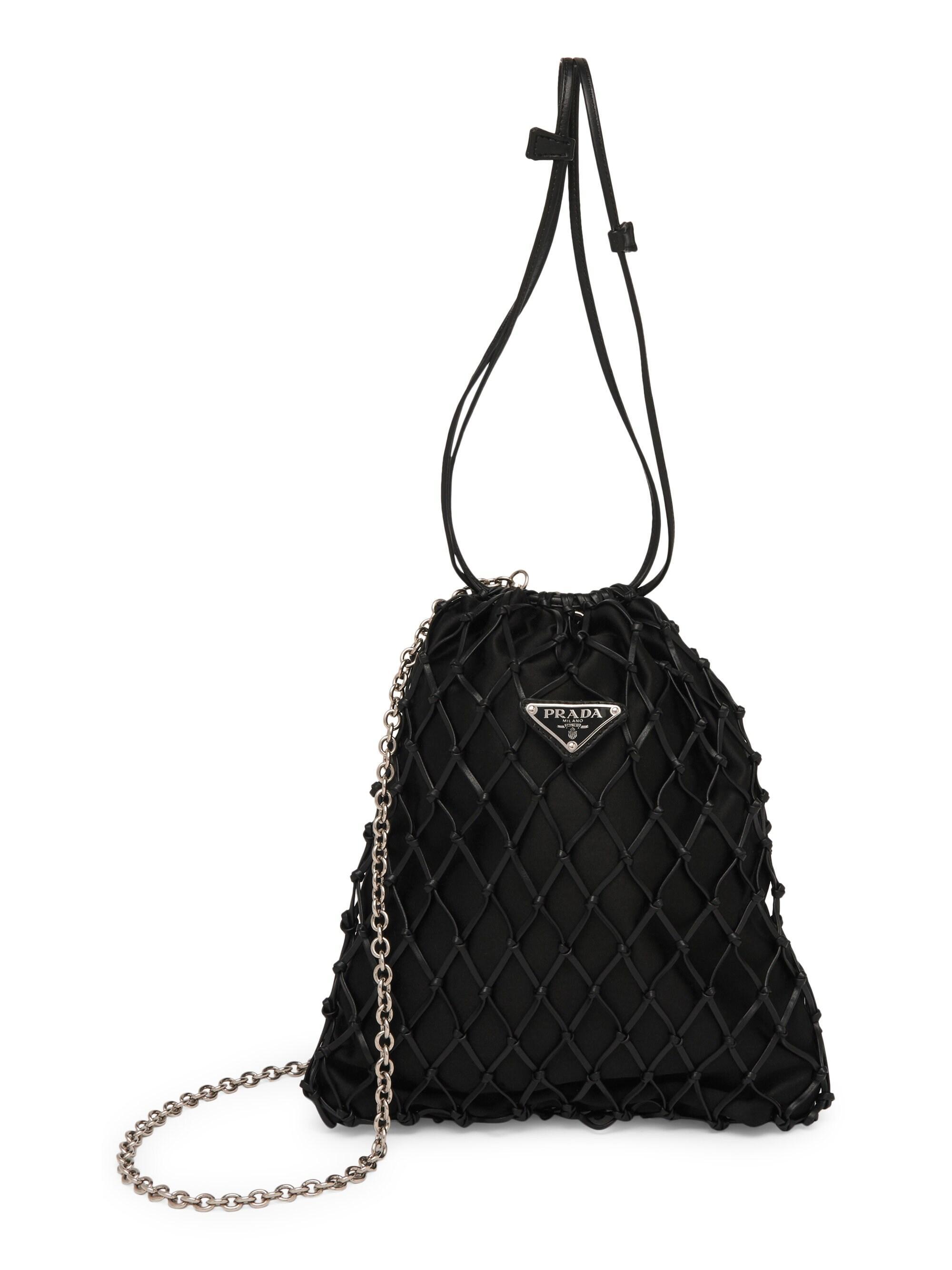 50a8310c3fcc Prada Women's Silk Net Bag - Orange in Black - Lyst