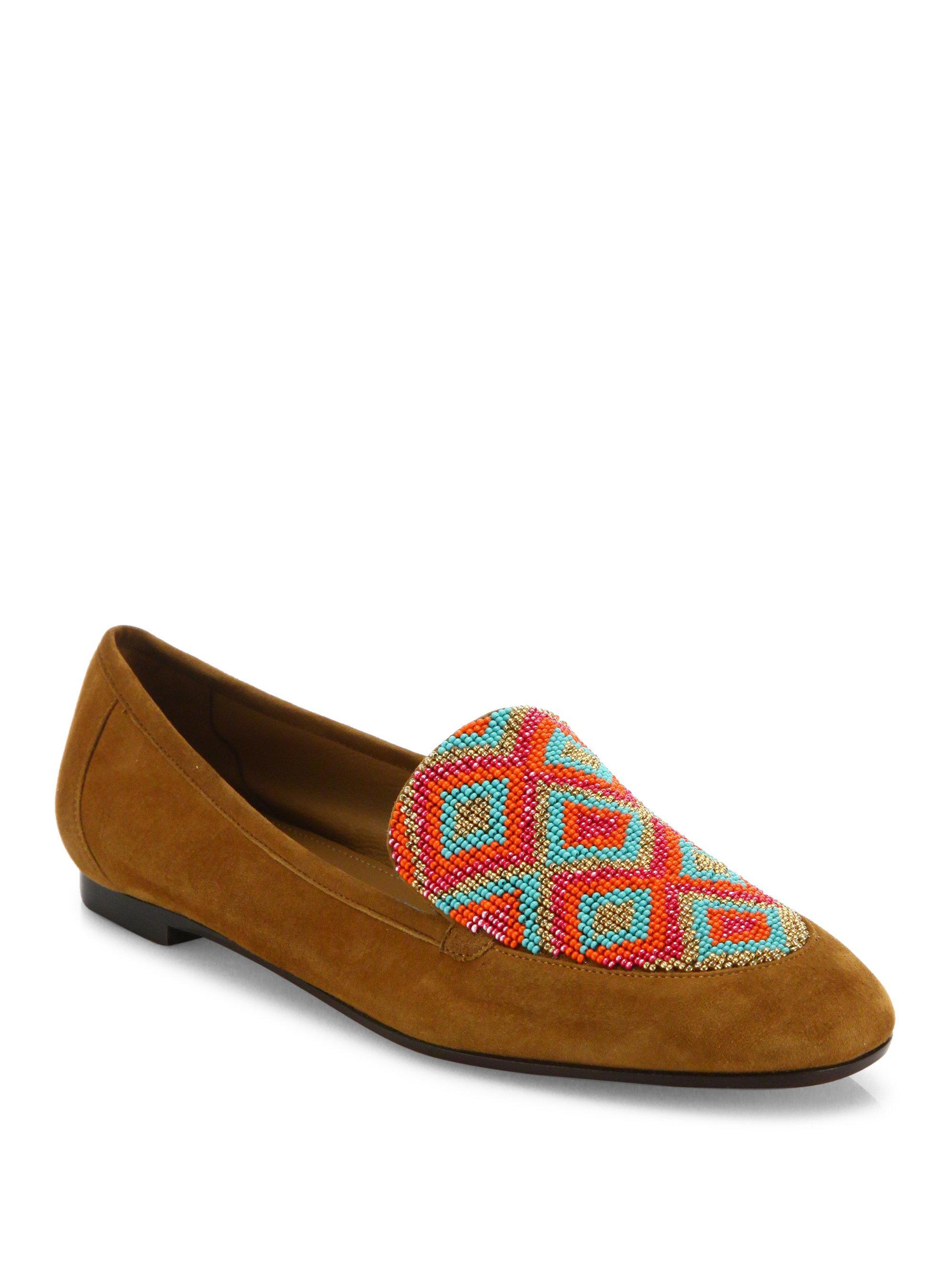 Aquazzura. Women's Masai Beaded Suede Loafers