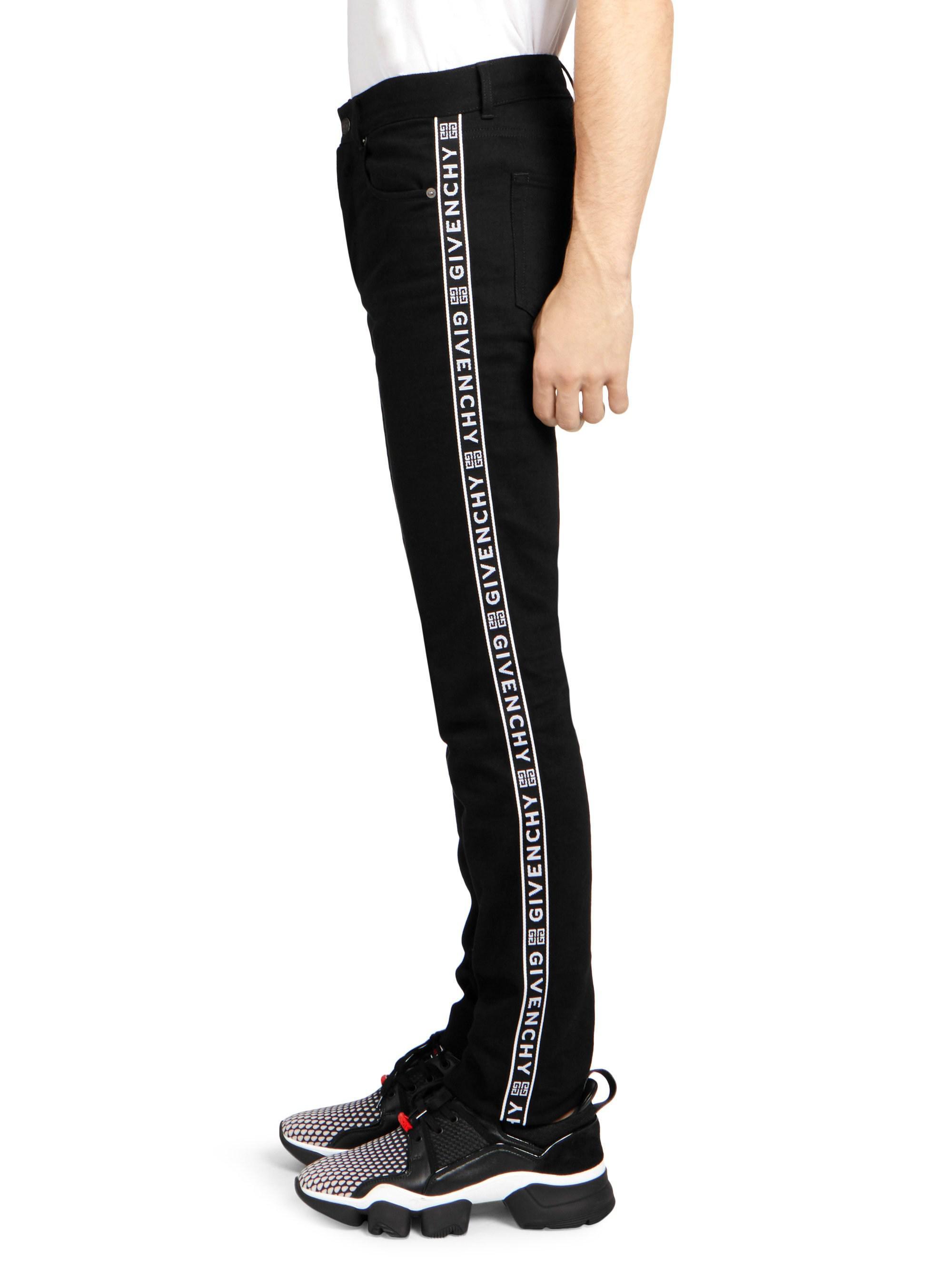 b273500d5c Givenchy Men s Side-tape Logo Jeans - Black - Size 30 in Black for Men -  Lyst