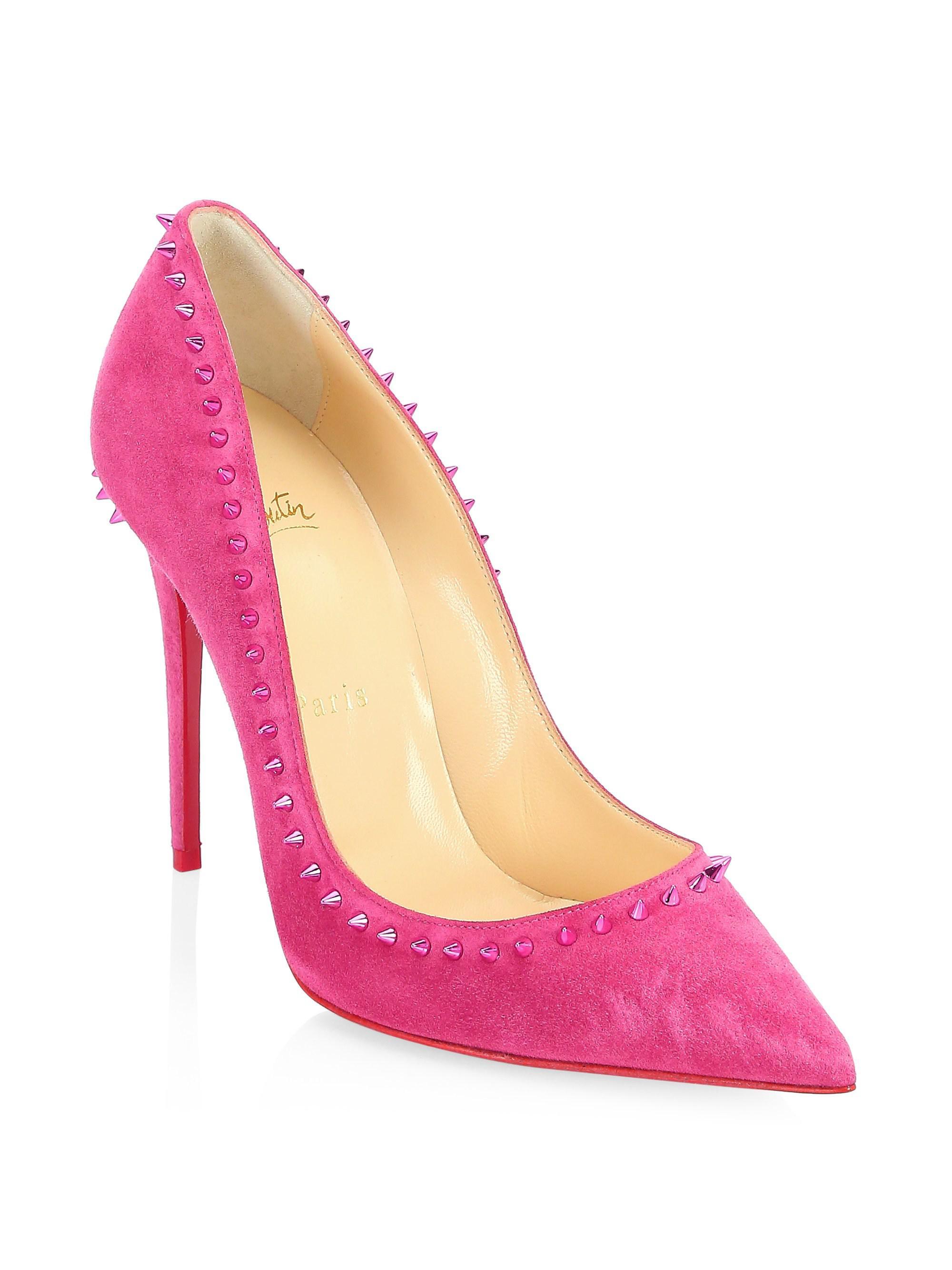 newest d889d d08a5 Christian Louboutin Pink Anjalina 100 Studded Suede Pumps