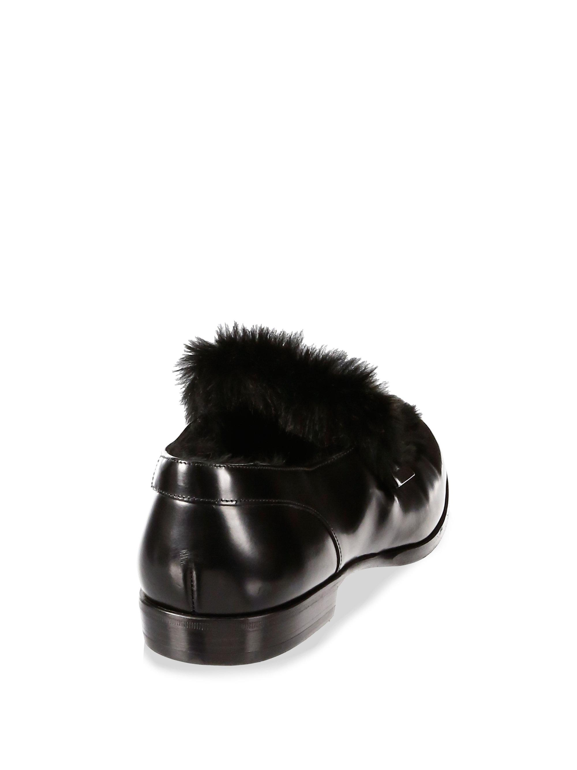 from china low shipping fee Jimmy Choo Tedi Rabbit Fur-Trimmed Loafers free shipping recommend 05AXL9p