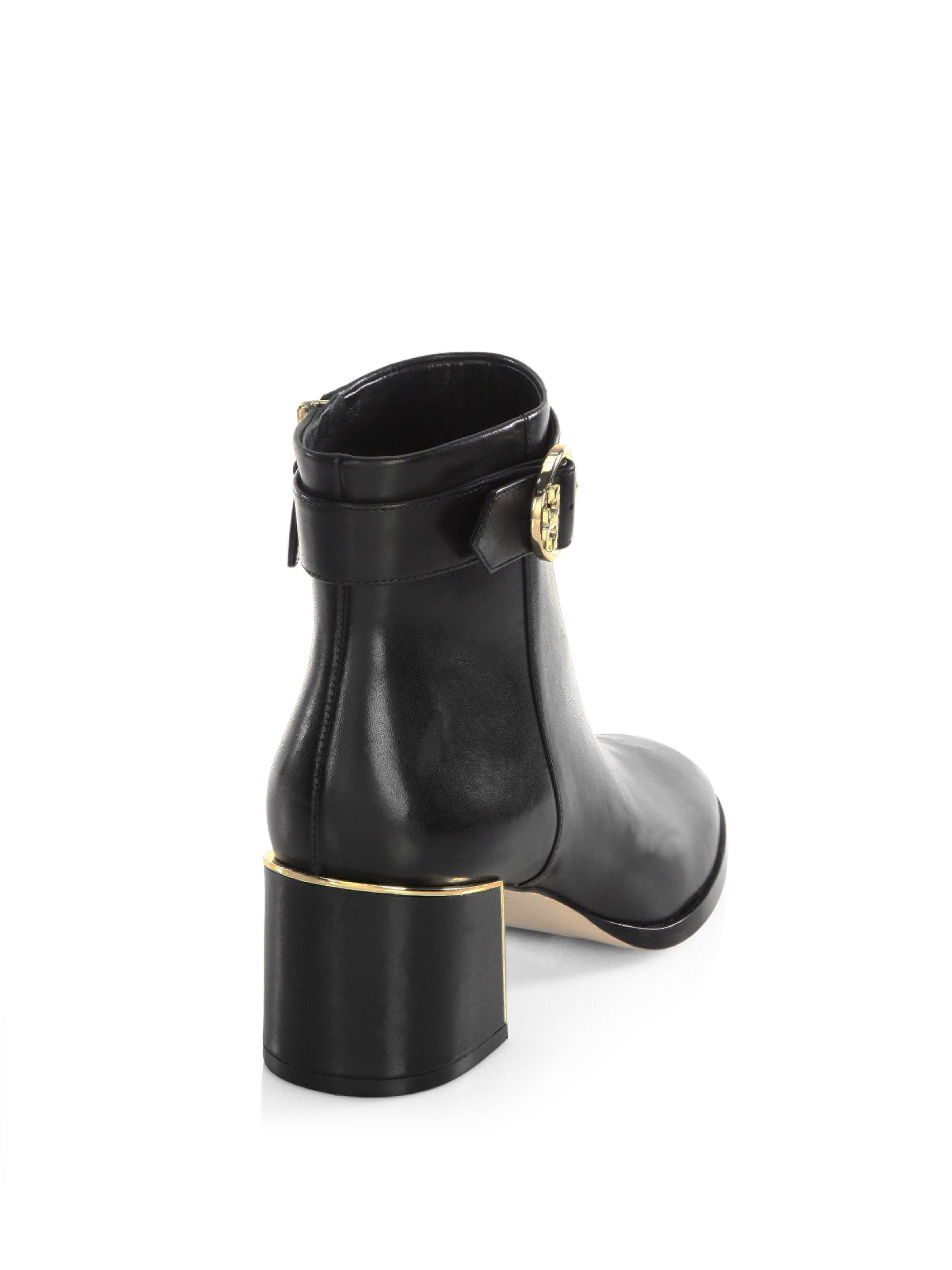 Tory Burch Sofia Leather Booties In Black Lyst