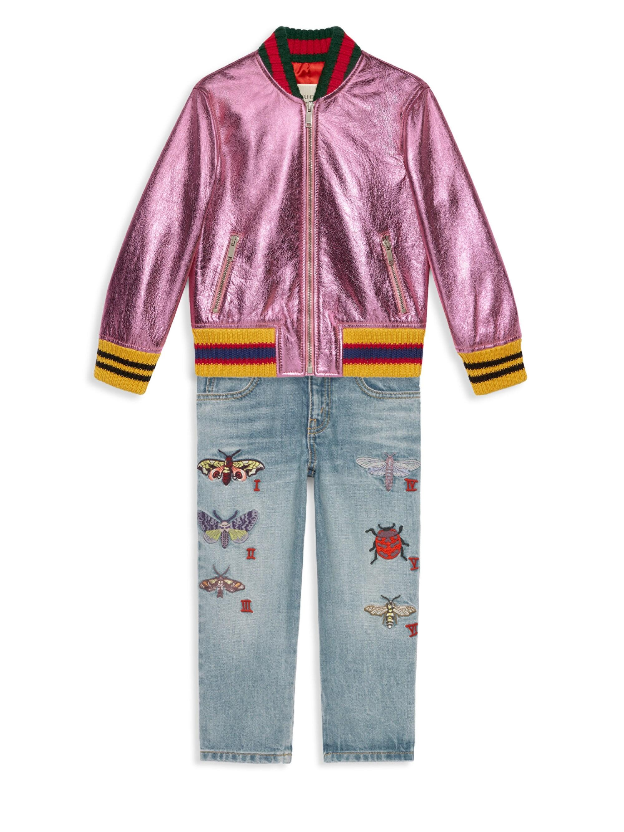 5a1d7e305 Gucci Girl's Metallic Leather Bomber Jacket - Pink in Pink - Lyst