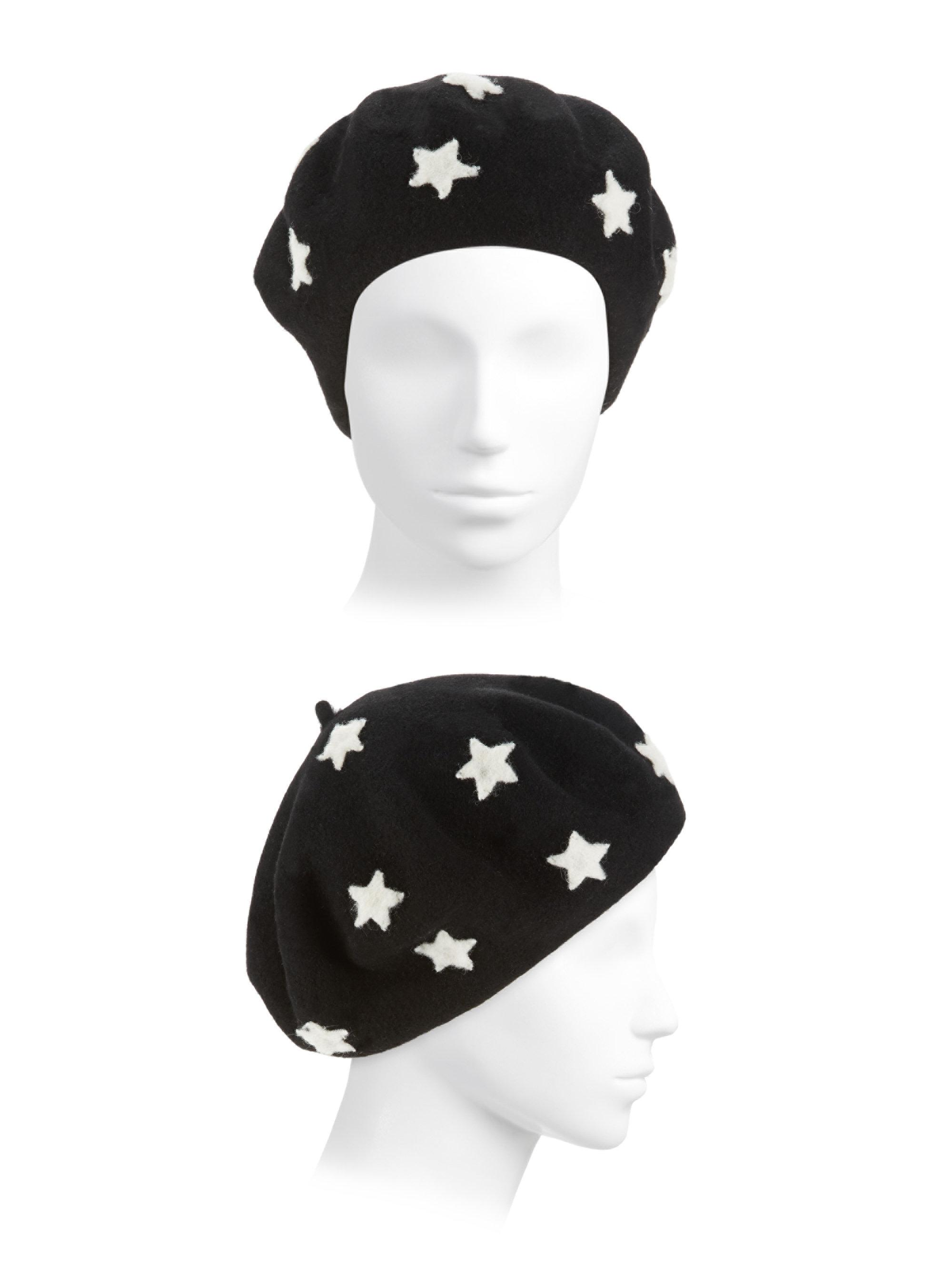 47eb83029a7eb Helene Berman Star Printed Beret in Black - Lyst
