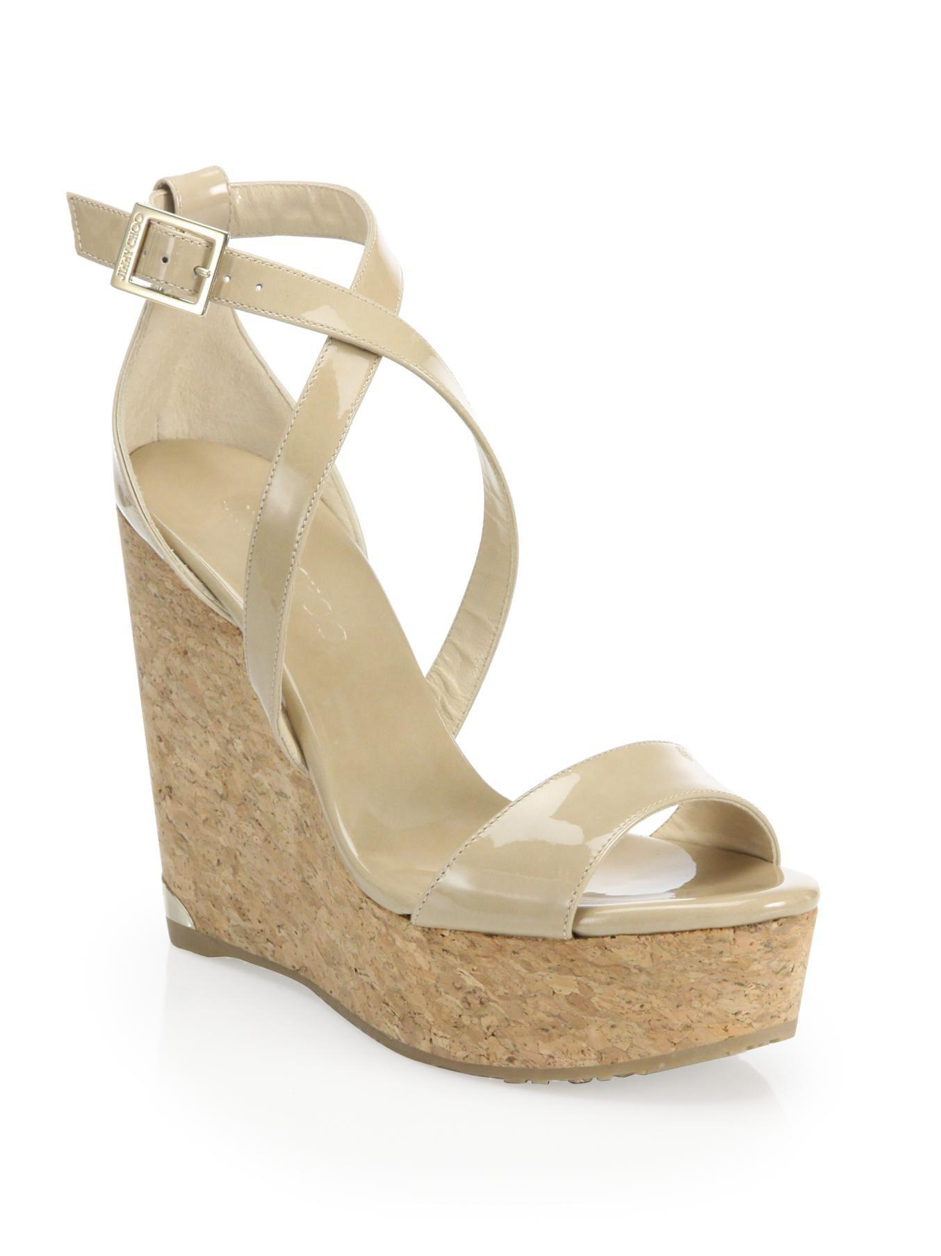 Jimmy Choo. Women's Natural Portia 120 Patent Leather & Cork Platform Wedge  Sandals