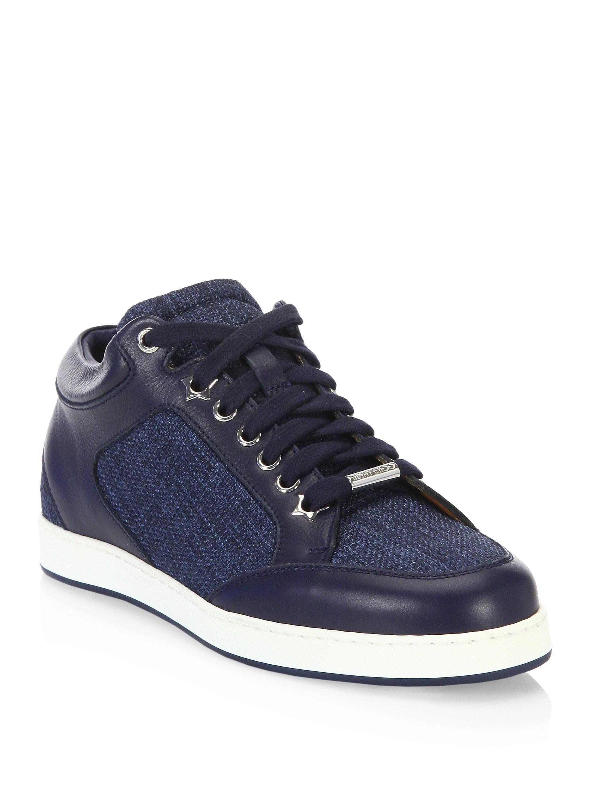 Jimmy choo Sneaker MIAMI calfskin Contrast stitching Glitter Logo