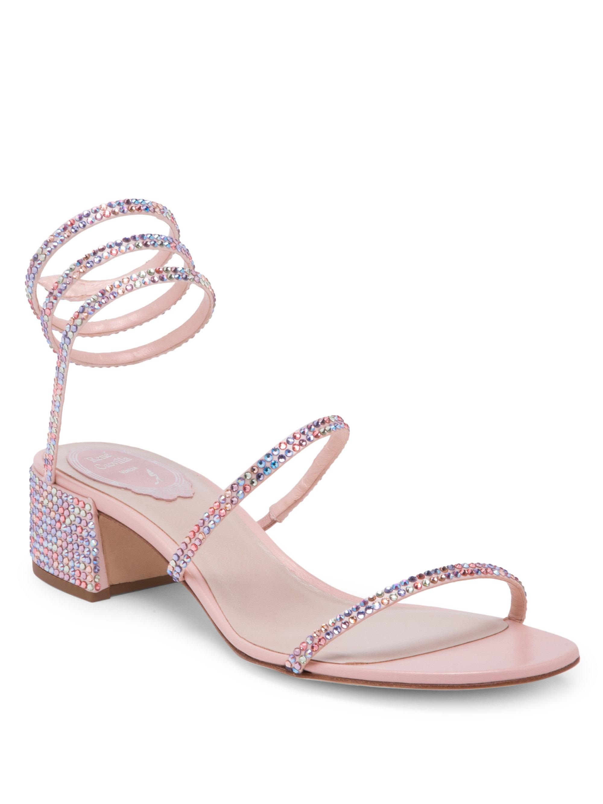 f6b55ed3bb6 Women's Pink Crystal Ankle Wrap Sandals