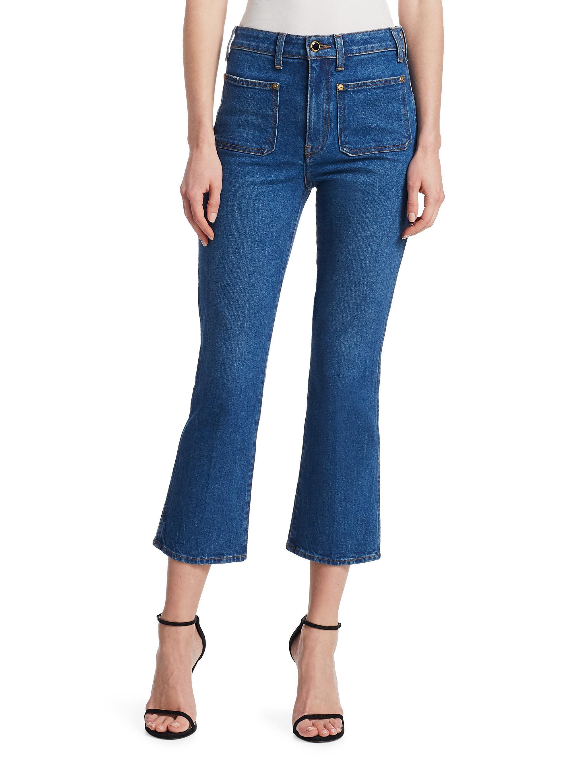 Khaite. Women's Blue Rachel Patch Pocket Jeans