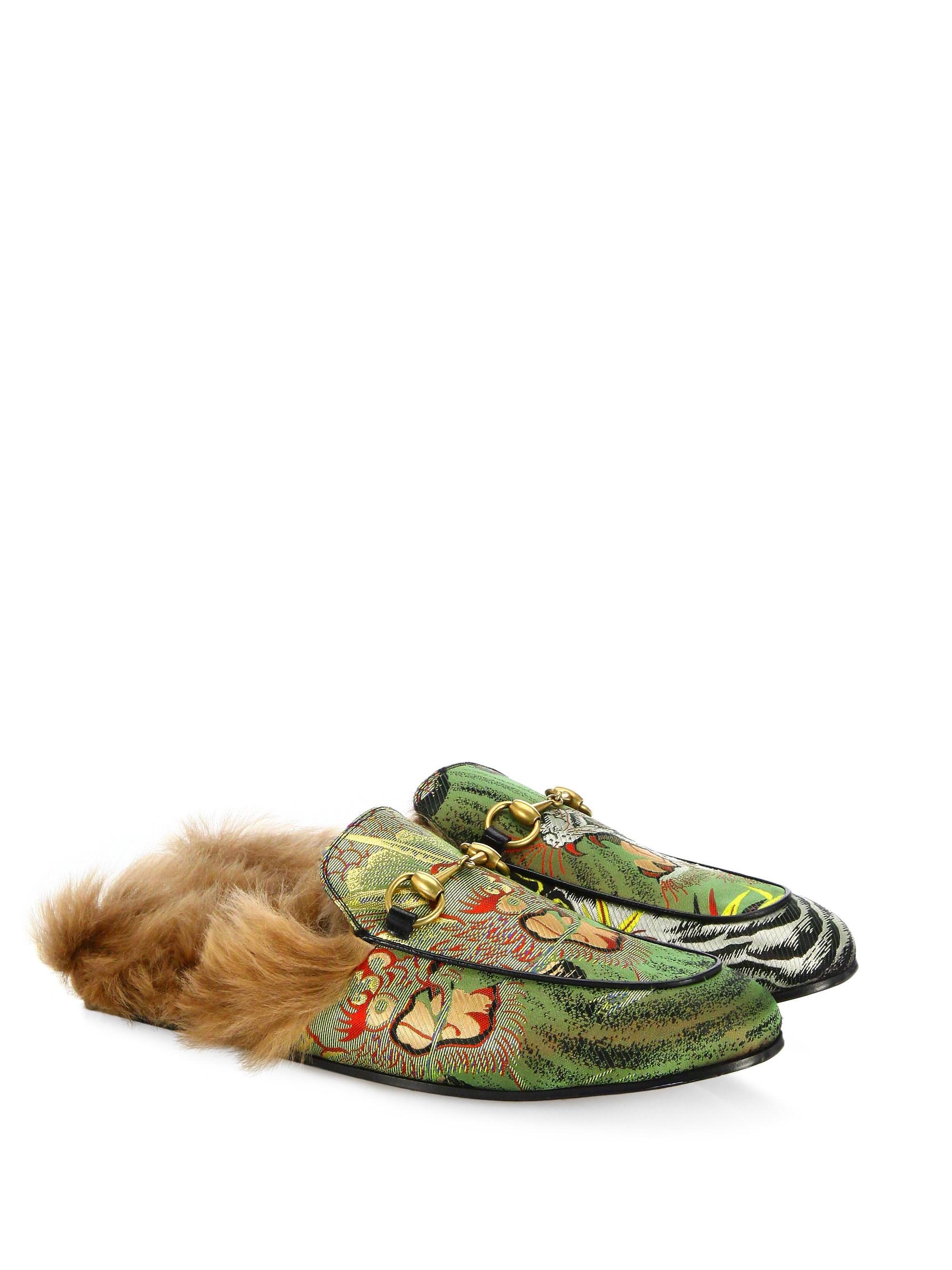 d1d2ca4ca09 Gucci. Men s Princetown Dragon Jacquard   Fur Slippers .